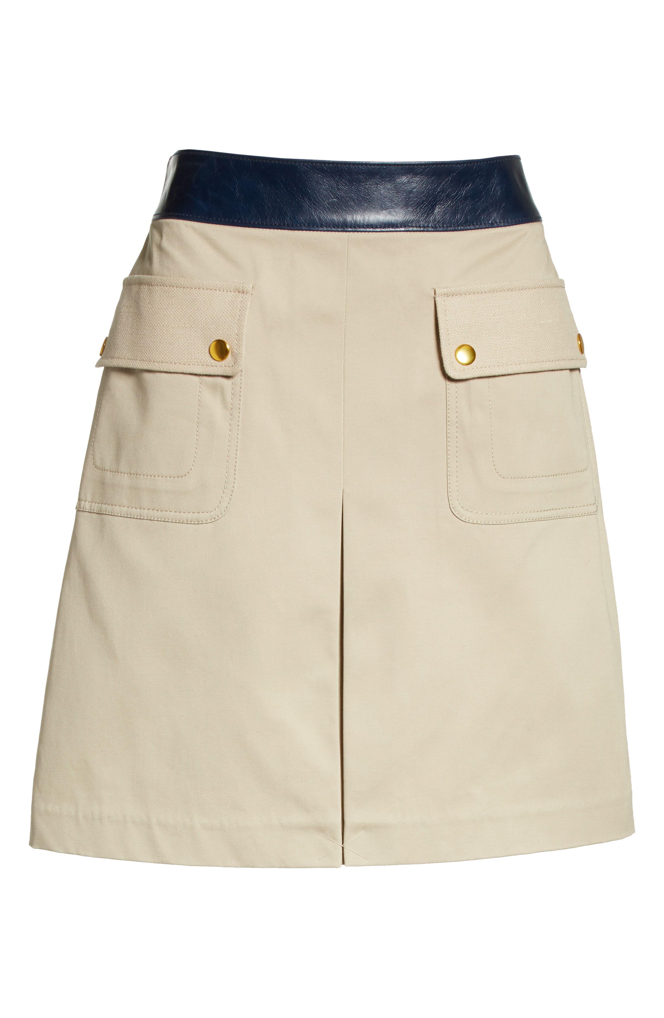 Parker Leather Trim Skirt,                             Alternate thumbnail 6, color,                             Safari