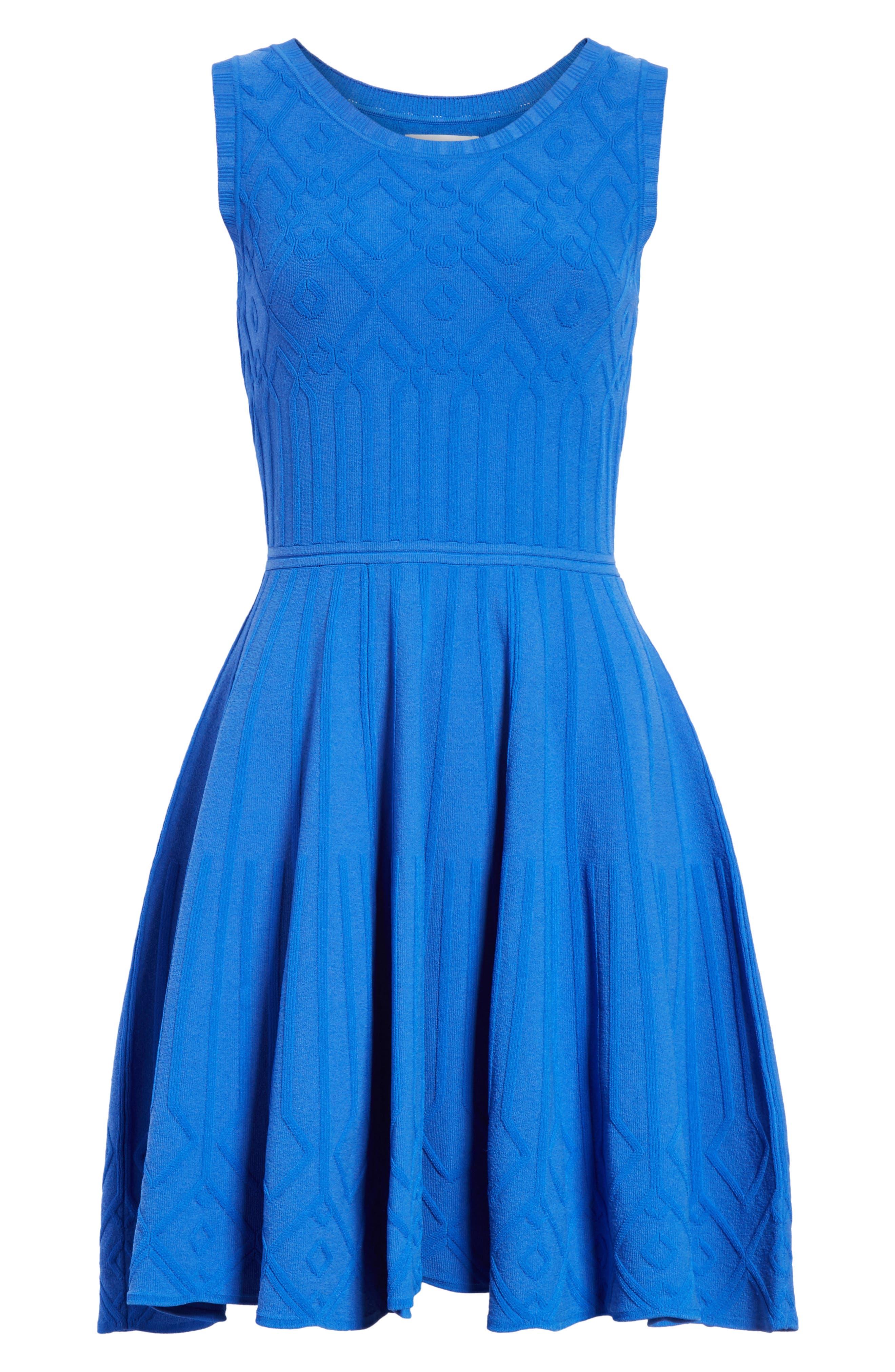 Mosaic Texture Knit Fit & Flare Dress,                             Alternate thumbnail 6, color,                             Blueberry