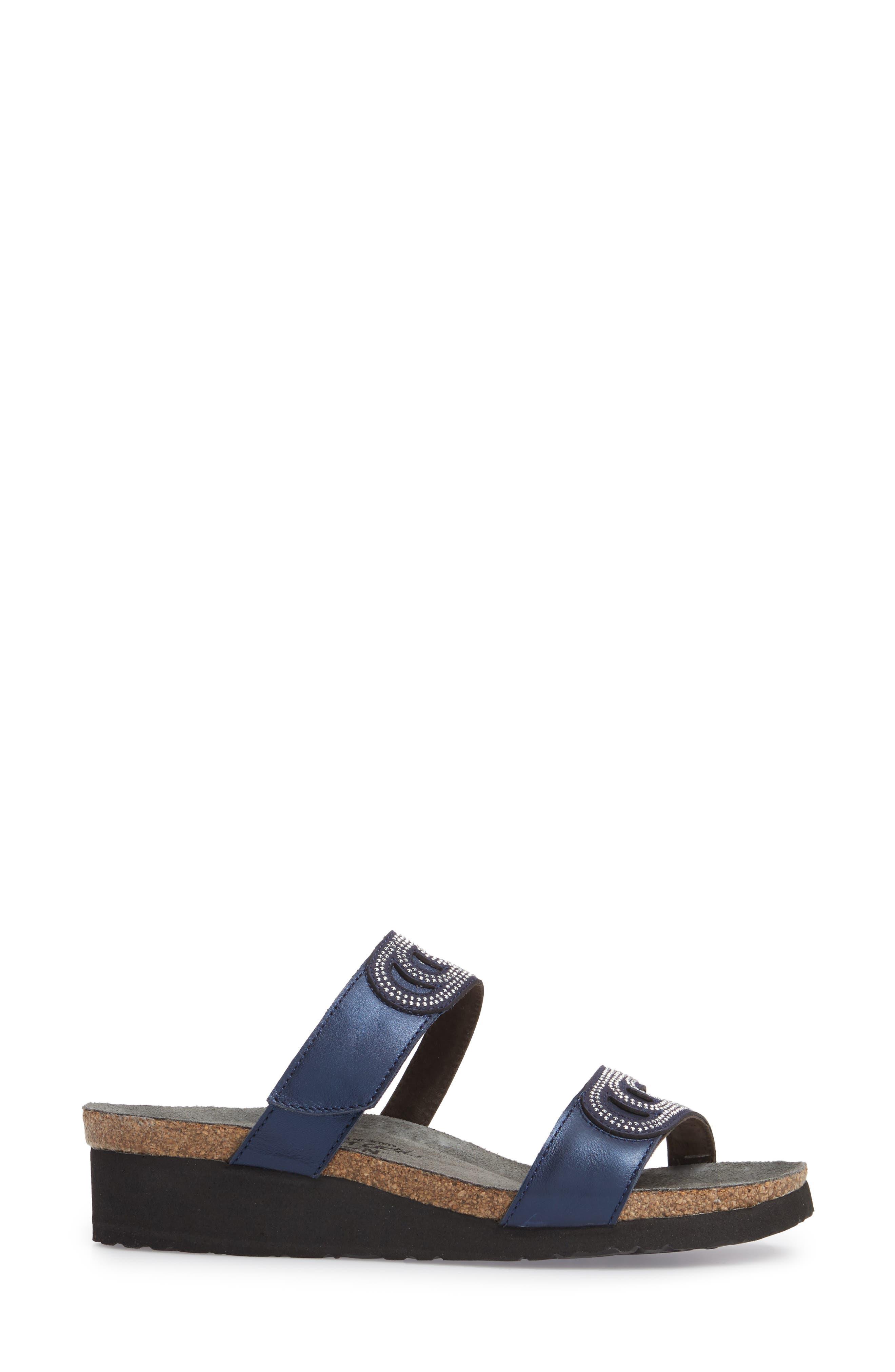 Ainsley Studded Slide Sandal,                             Alternate thumbnail 3, color,                             Polar Nubuck
