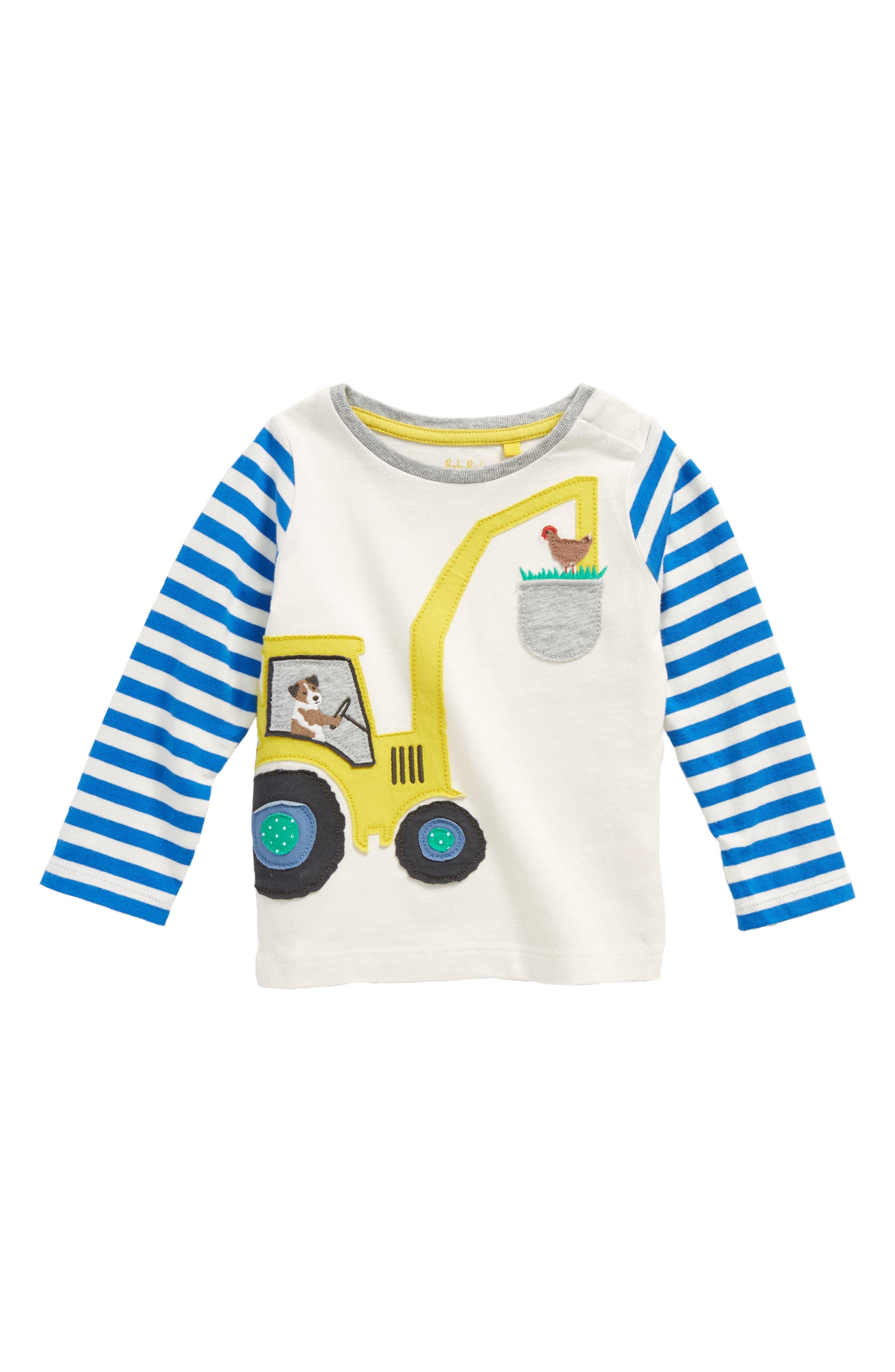 Farm Appliqué T-Shirt,                         Main,                         color, Ecru/ Skipper Blue