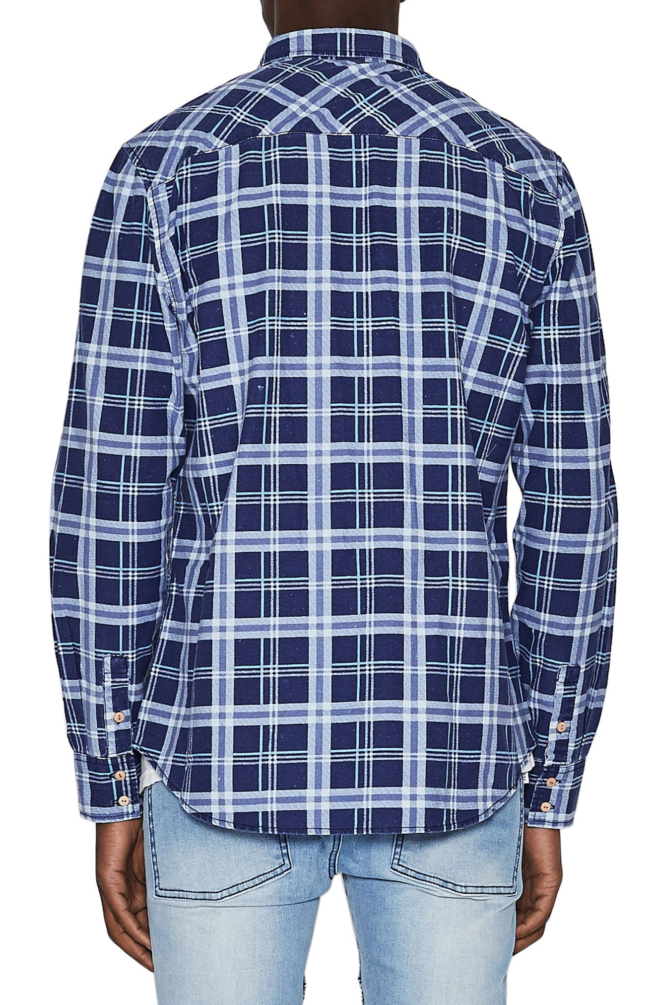 Issued Trim Fit Woven Shirt,                             Alternate thumbnail 2, color,                             Blue Check