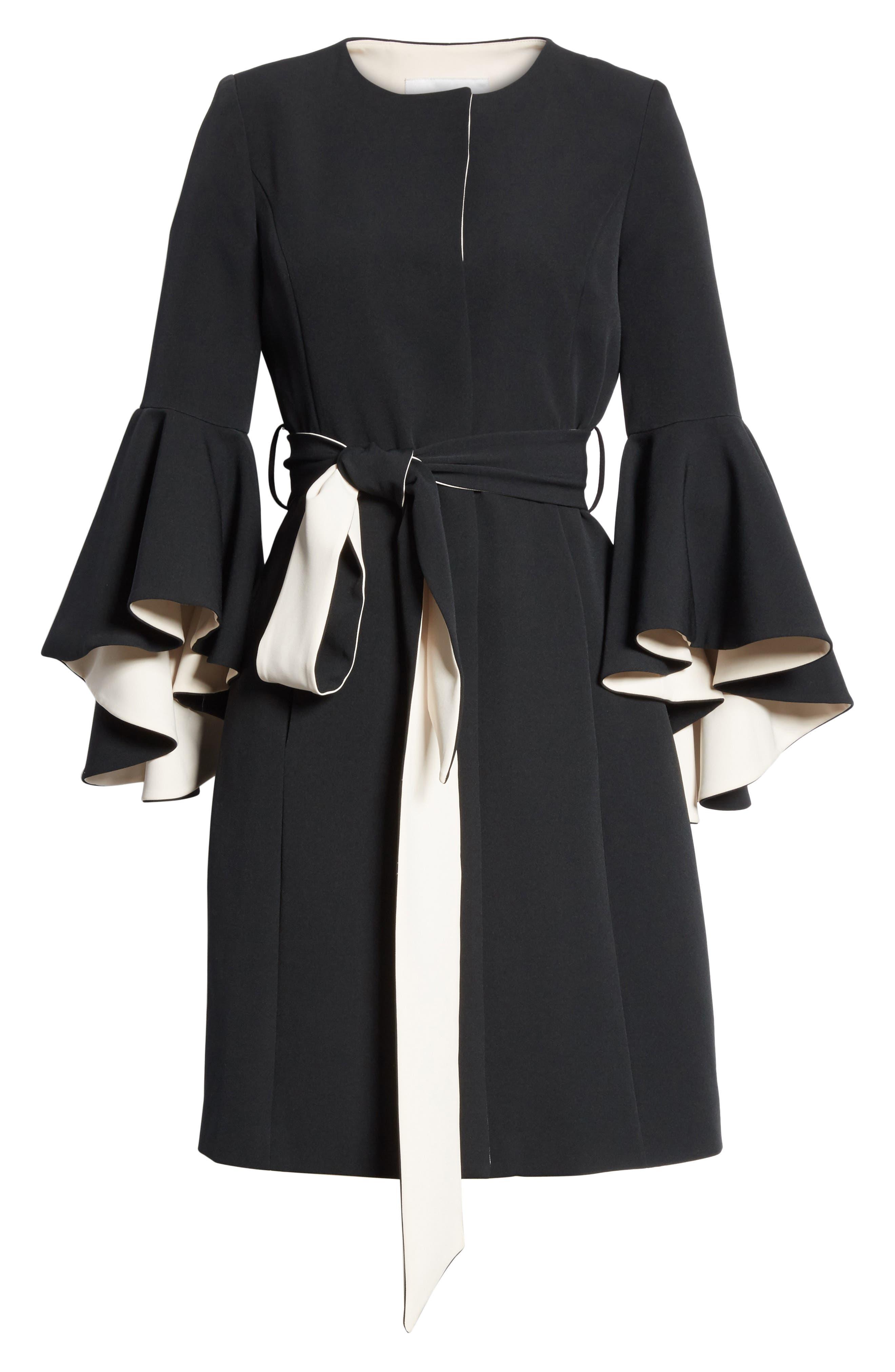 Selena Ruffle Sleeve Coat,                             Alternate thumbnail 7, color,                             Black/ Cream