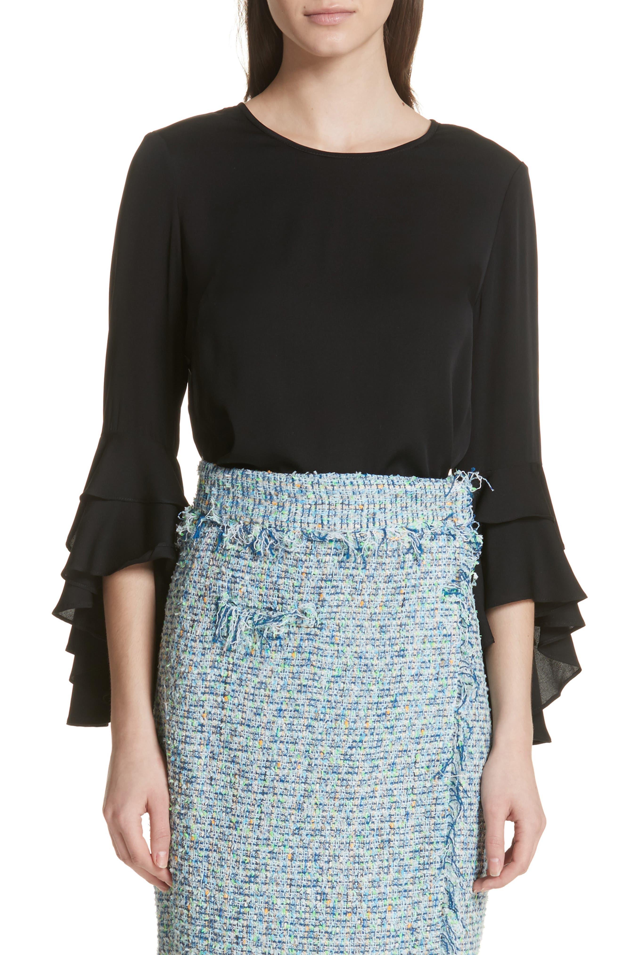 Gabby Bell Sleeve Silk Crepe Top,                             Main thumbnail 1, color,                             Black