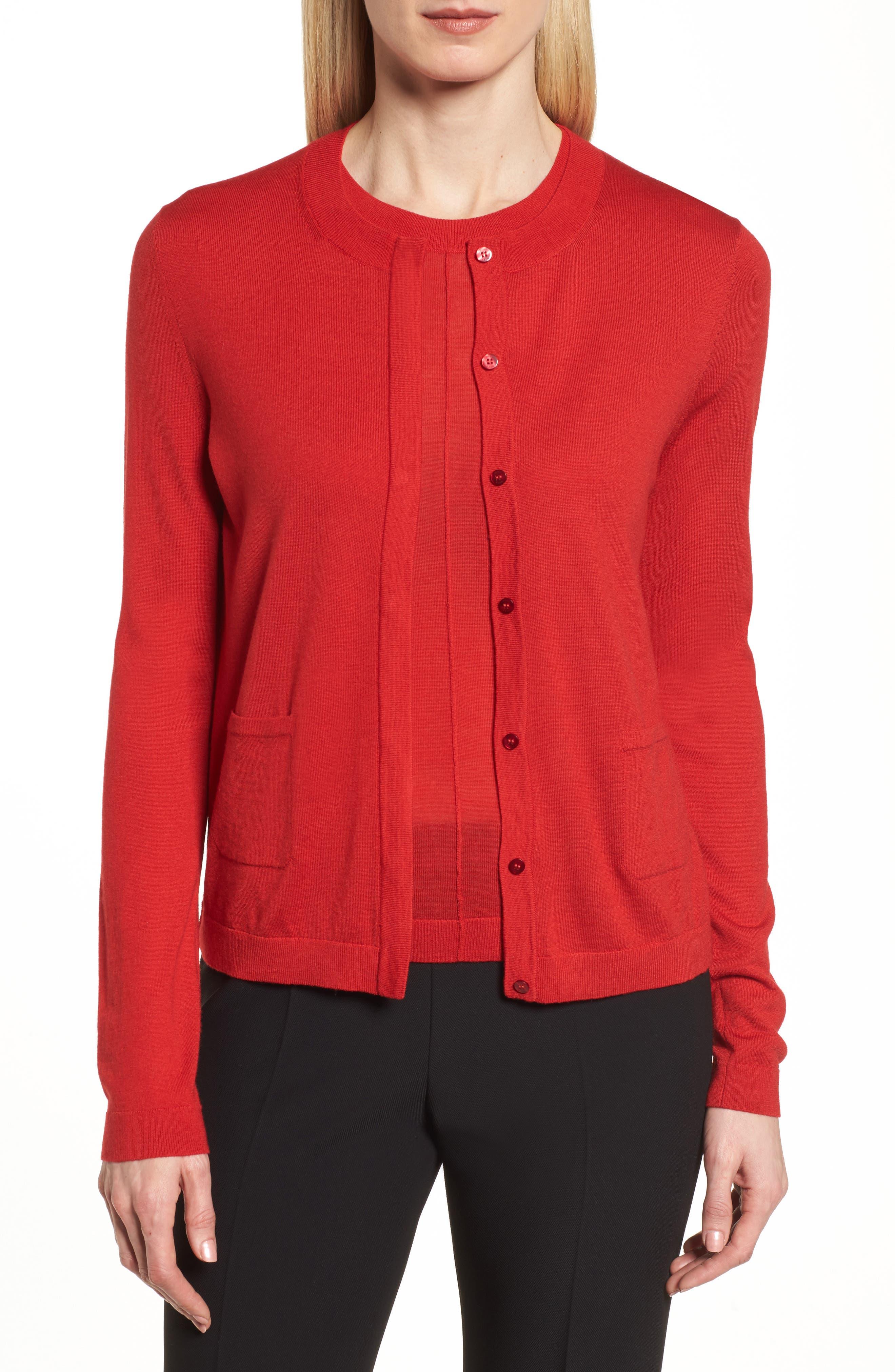 Fuyuma Wool Cardigan,                         Main,                         color, Crimson Red