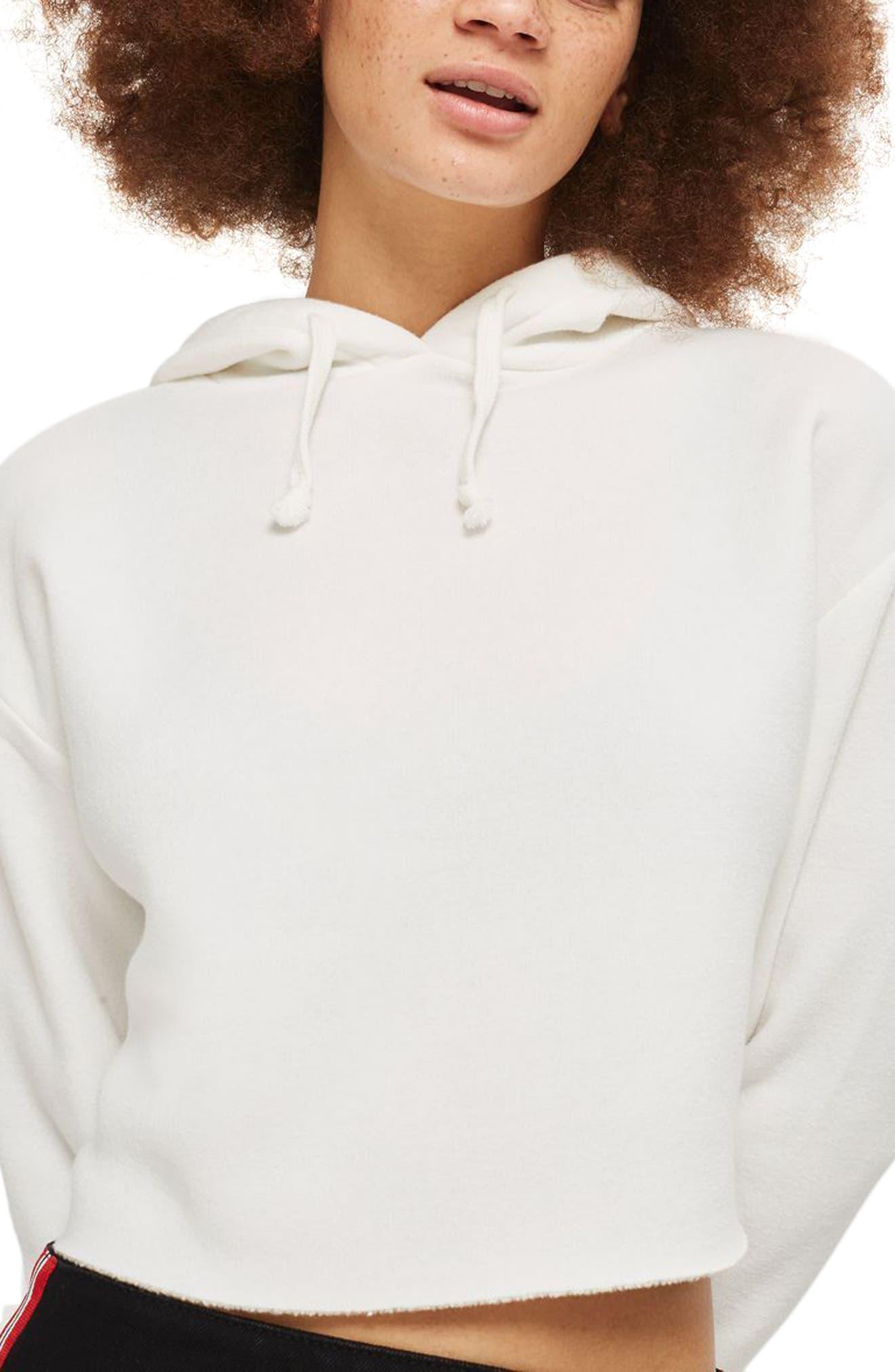 Crop Hoodie,                         Main,                         color, White