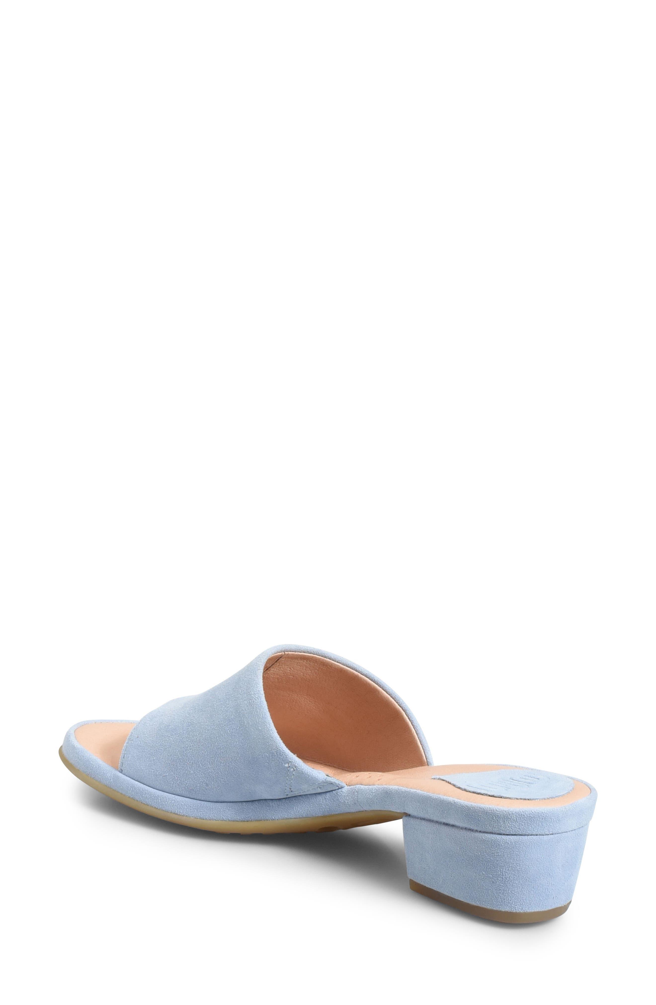 Bo Block Heel Slide Sandal,                             Alternate thumbnail 2, color,                             Light Blue Suede