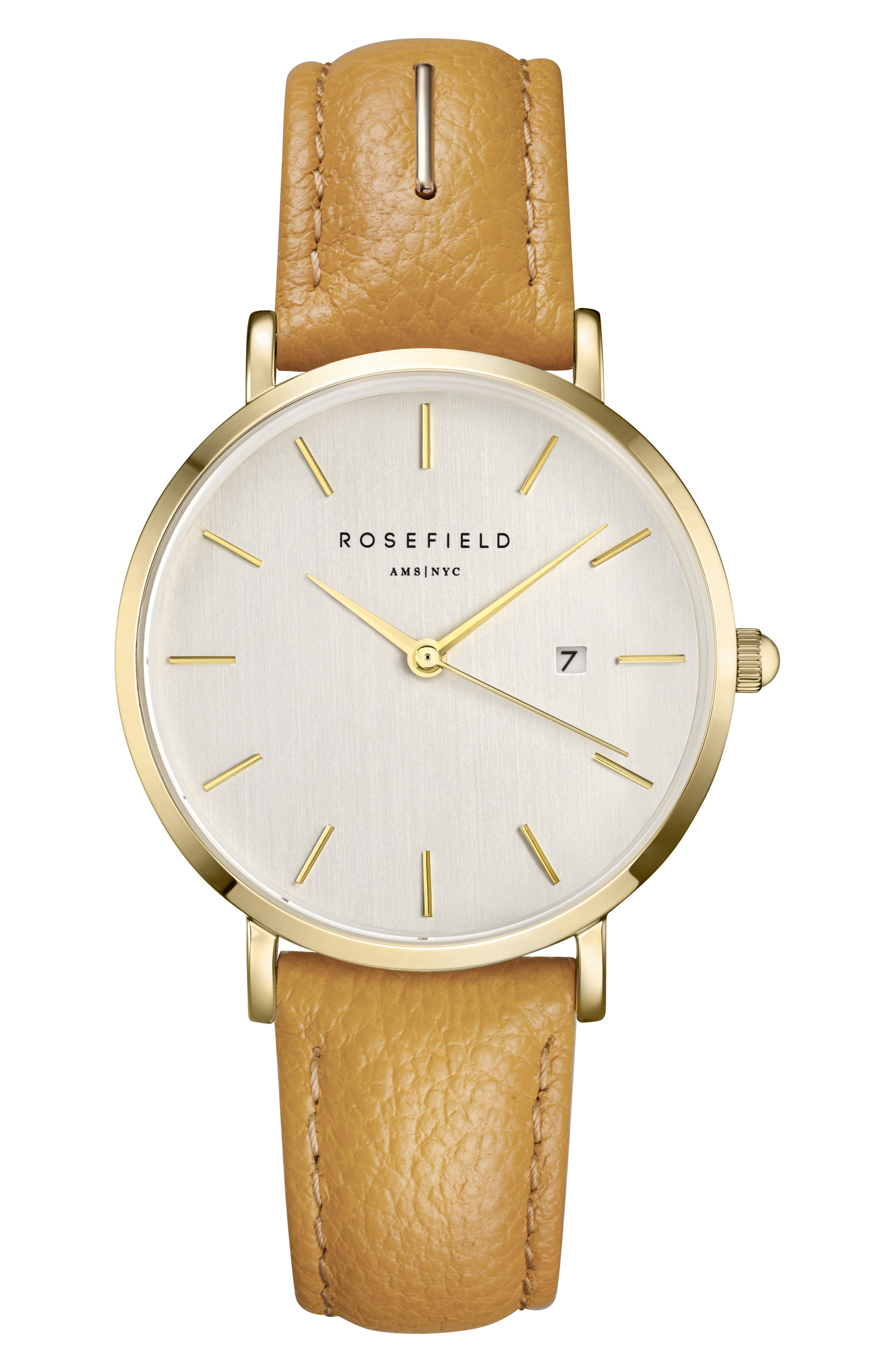 The September Issue Leather Strap Watch, 33mm,                         Main,                         color, Yellow/ Gold