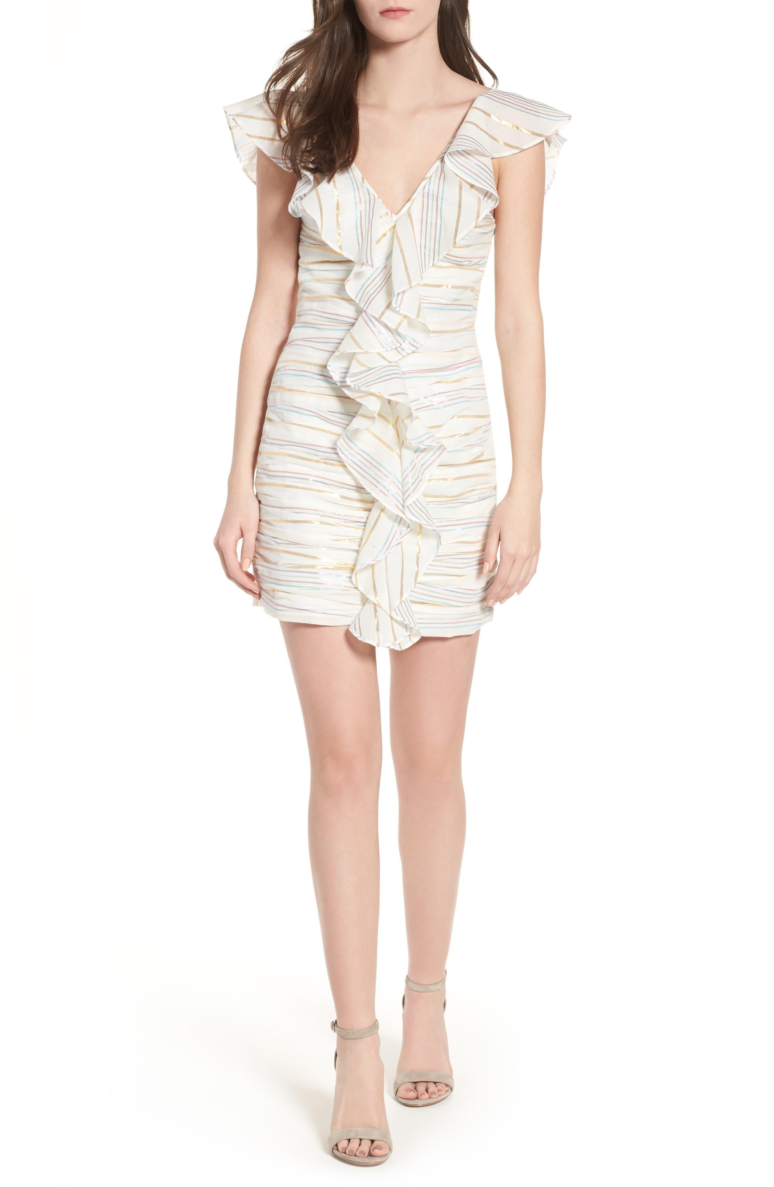 Brittany Ruffle Dress,                             Main thumbnail 1, color,                             Marshmallow