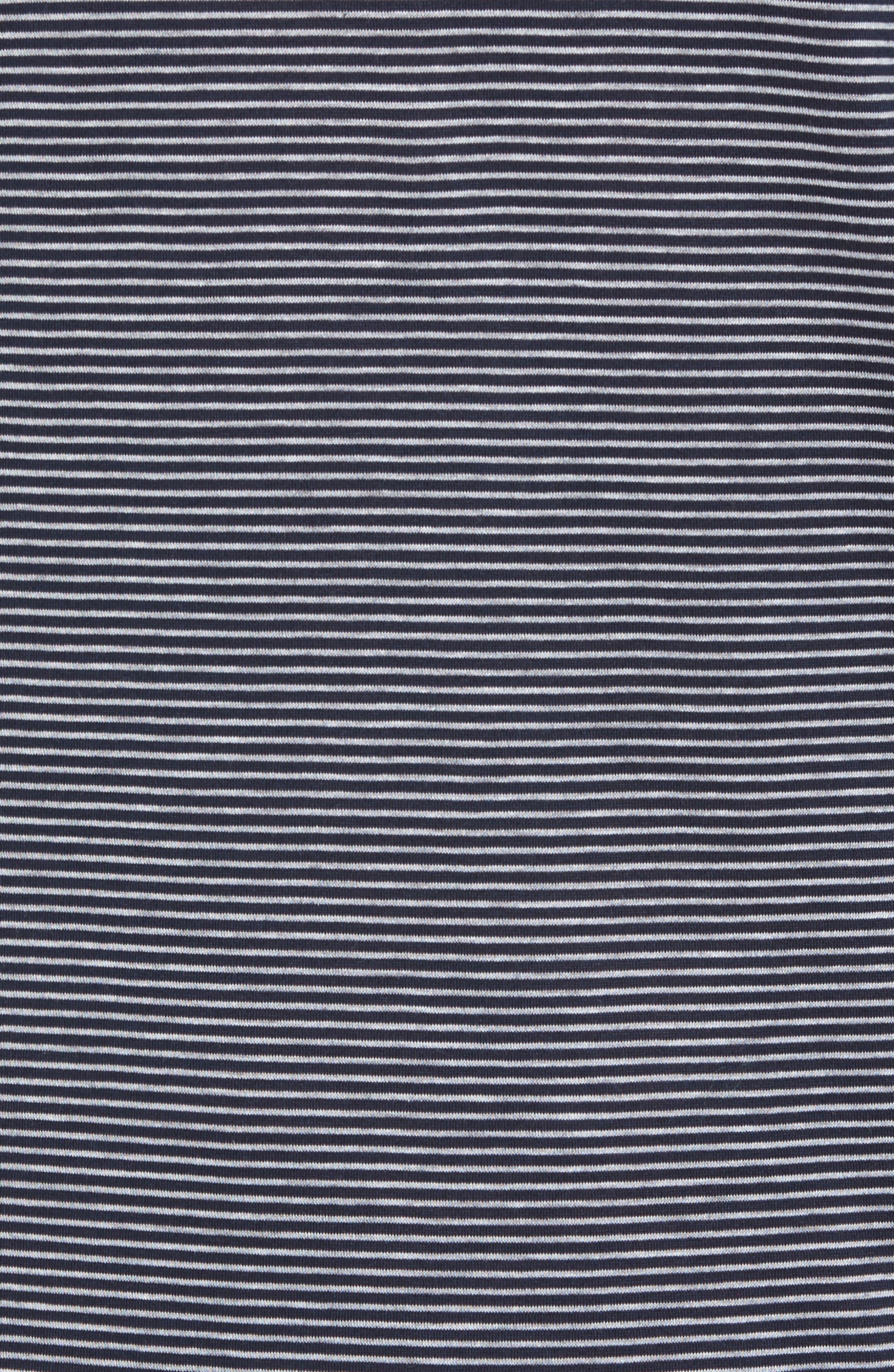 Sporty Stripe Cotton V-Neck T-Shirt,                             Alternate thumbnail 5, color,                             Marine Grey Stripe