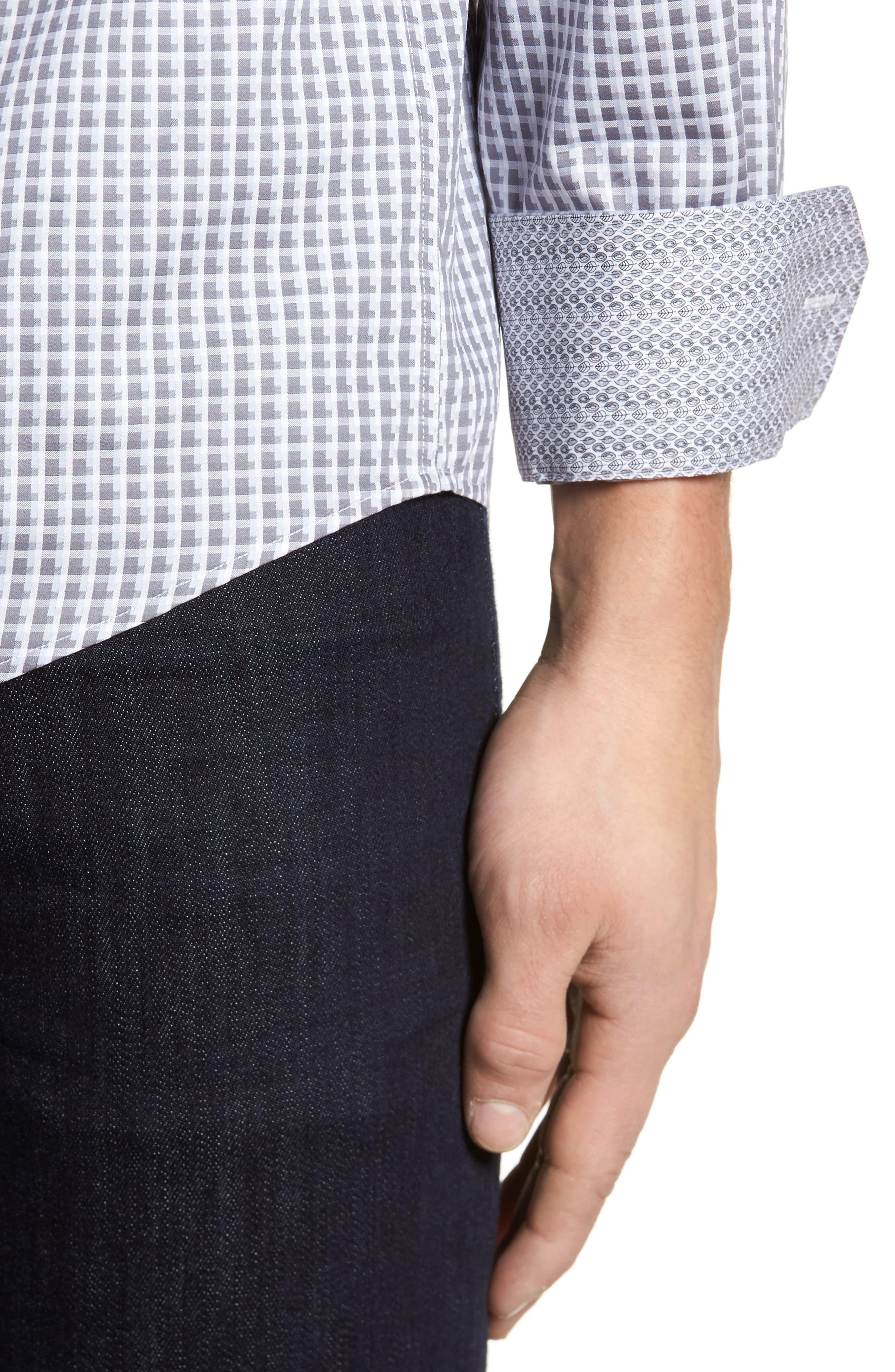 Regular Fit Check Sport Shirt,                             Alternate thumbnail 4, color,                             Platinum