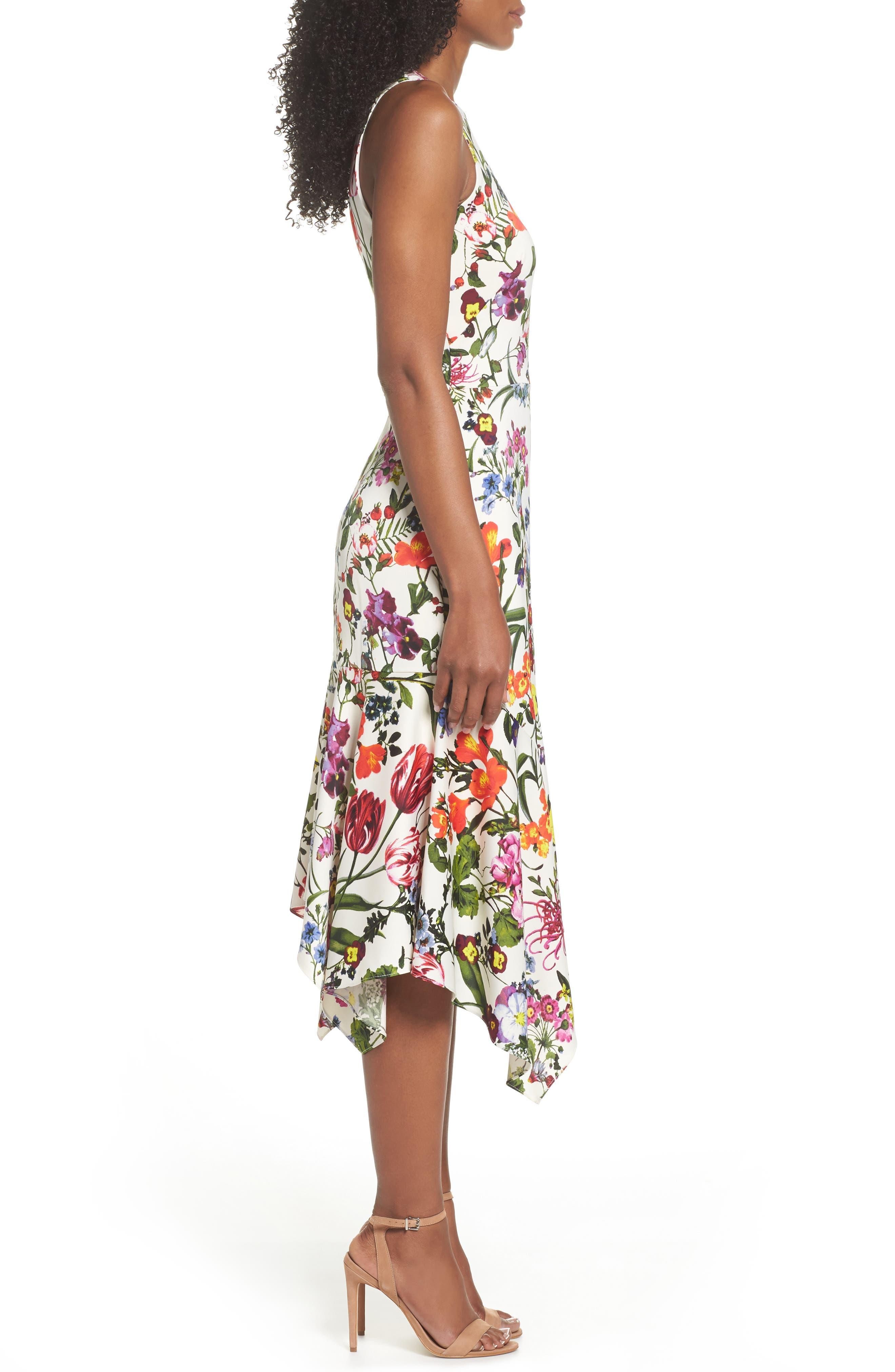 Botanical Print Charmeuse Midi Dress,                             Alternate thumbnail 3, color,                             Soft White/ Multi