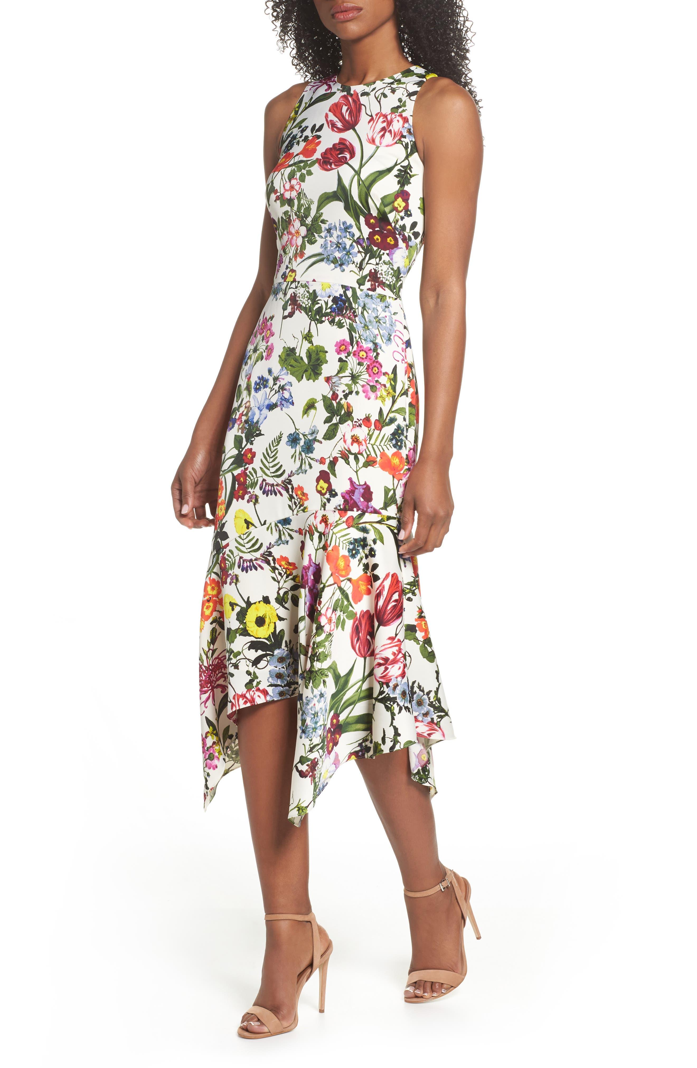 Botanical Print Charmeuse Midi Dress,                         Main,                         color, Soft White/ Multi