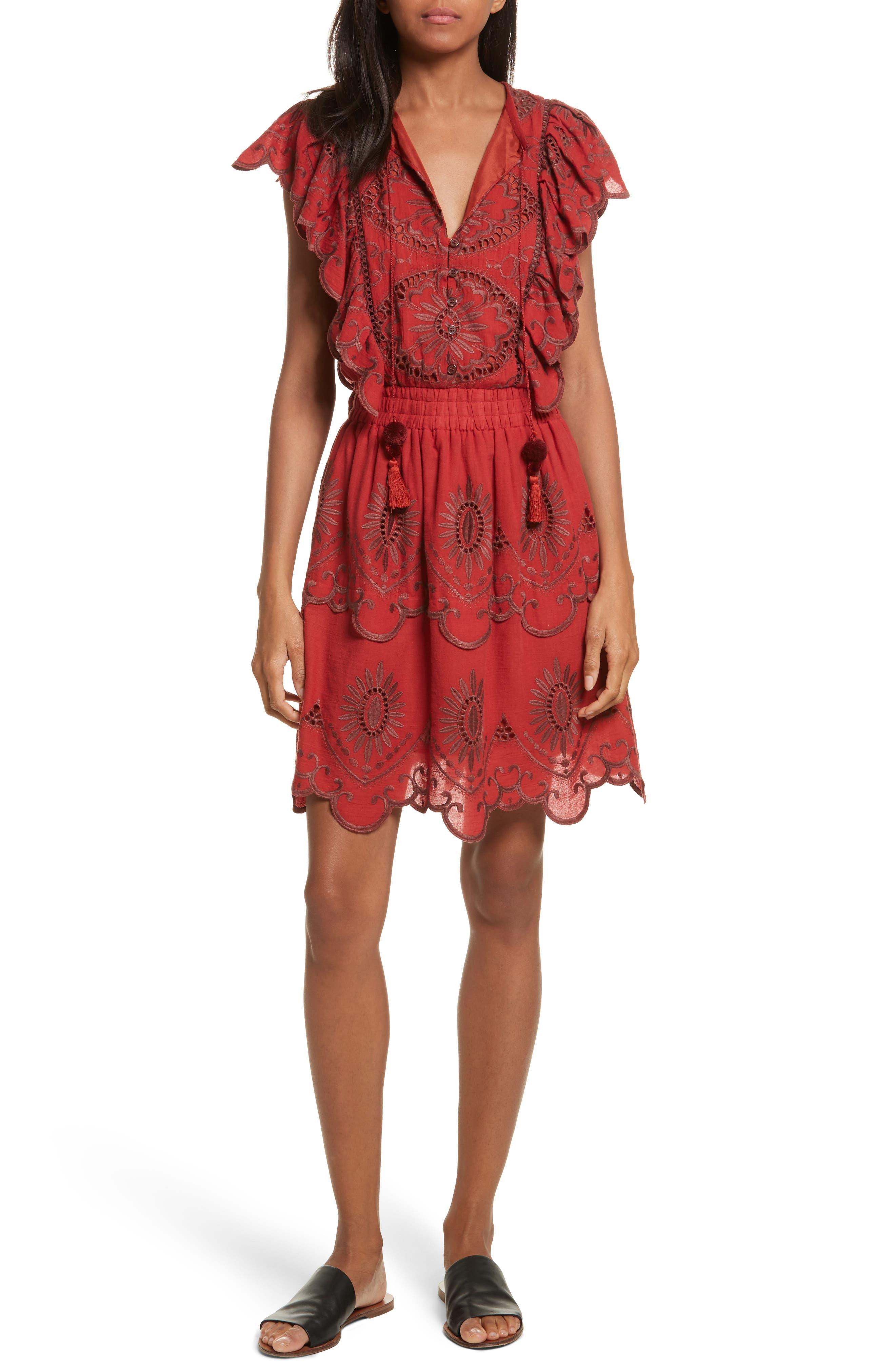 Ruffle Cotton Eyelet Dress,                             Main thumbnail 1, color,                             Brick/ Dark Brick