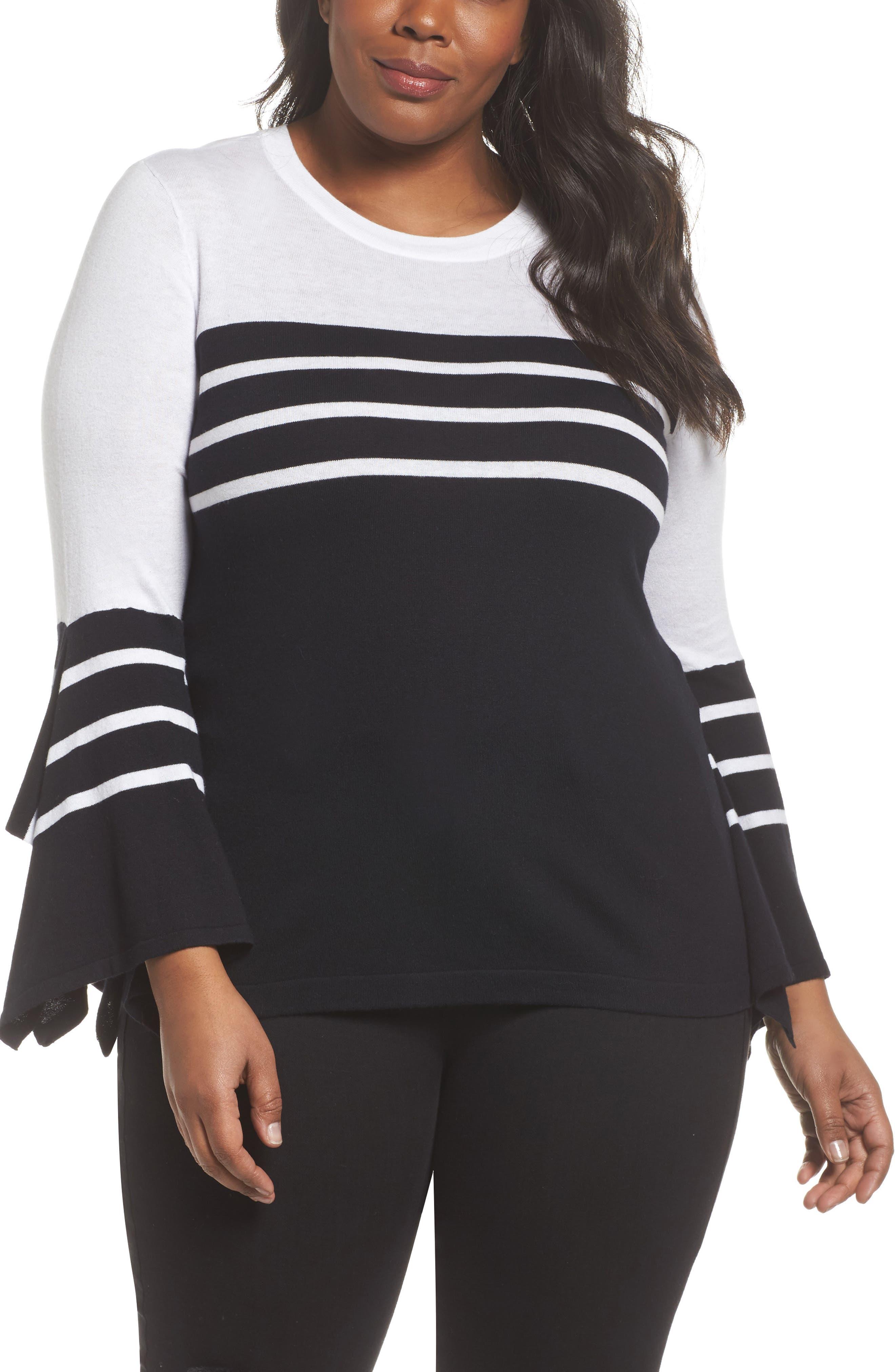 Handkerchief Sleeve Stripe Sweater,                         Main,                         color, Rich Black