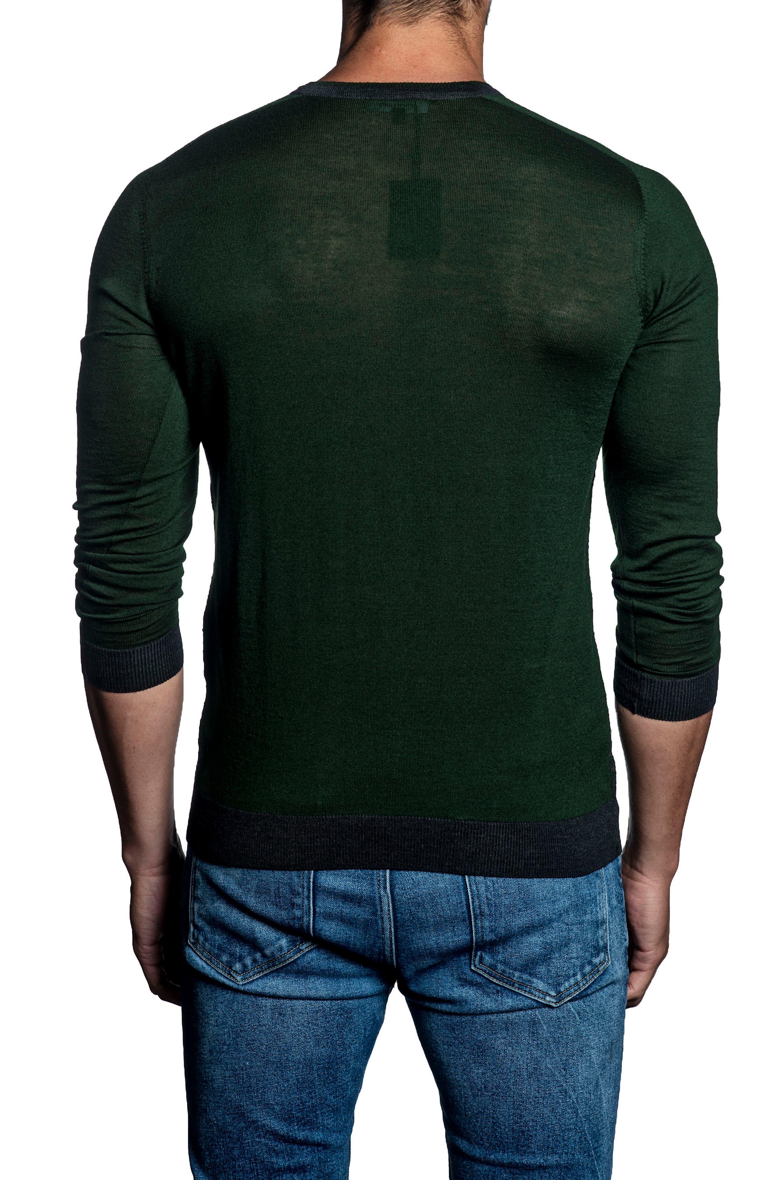 Slim Fit Contrast Sweater,                             Alternate thumbnail 2, color,                             Dark Green