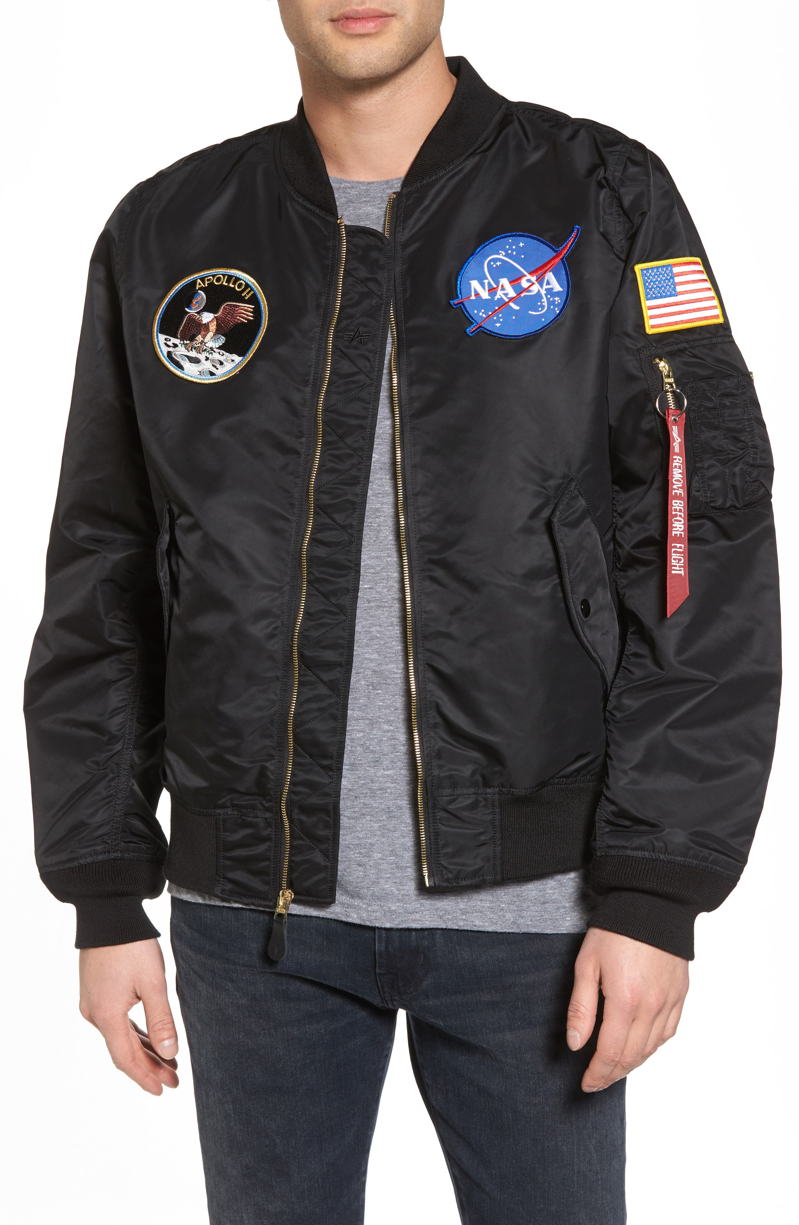 L-2B Apollo Bomber Jacket,                         Main,                         color, Black W/ Red Lining