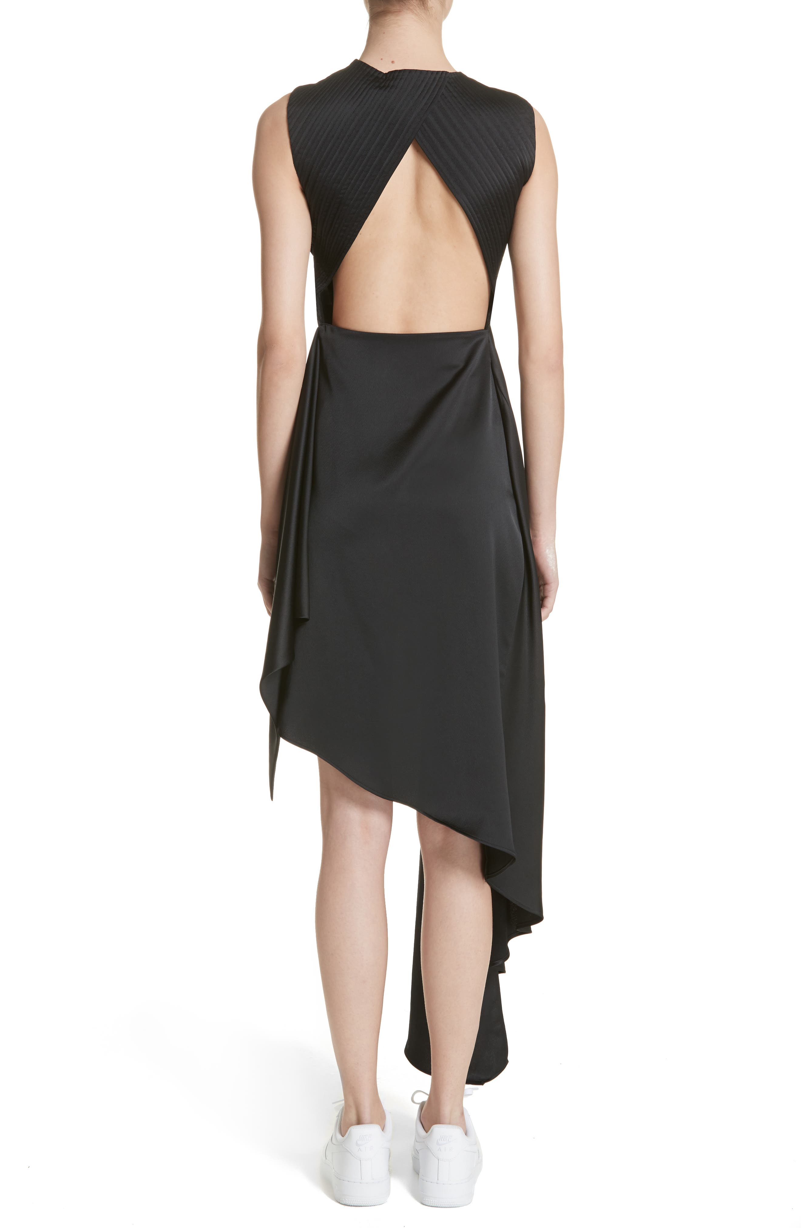 Alternate Image 2  - Off-White Asymmetric Satin Dress