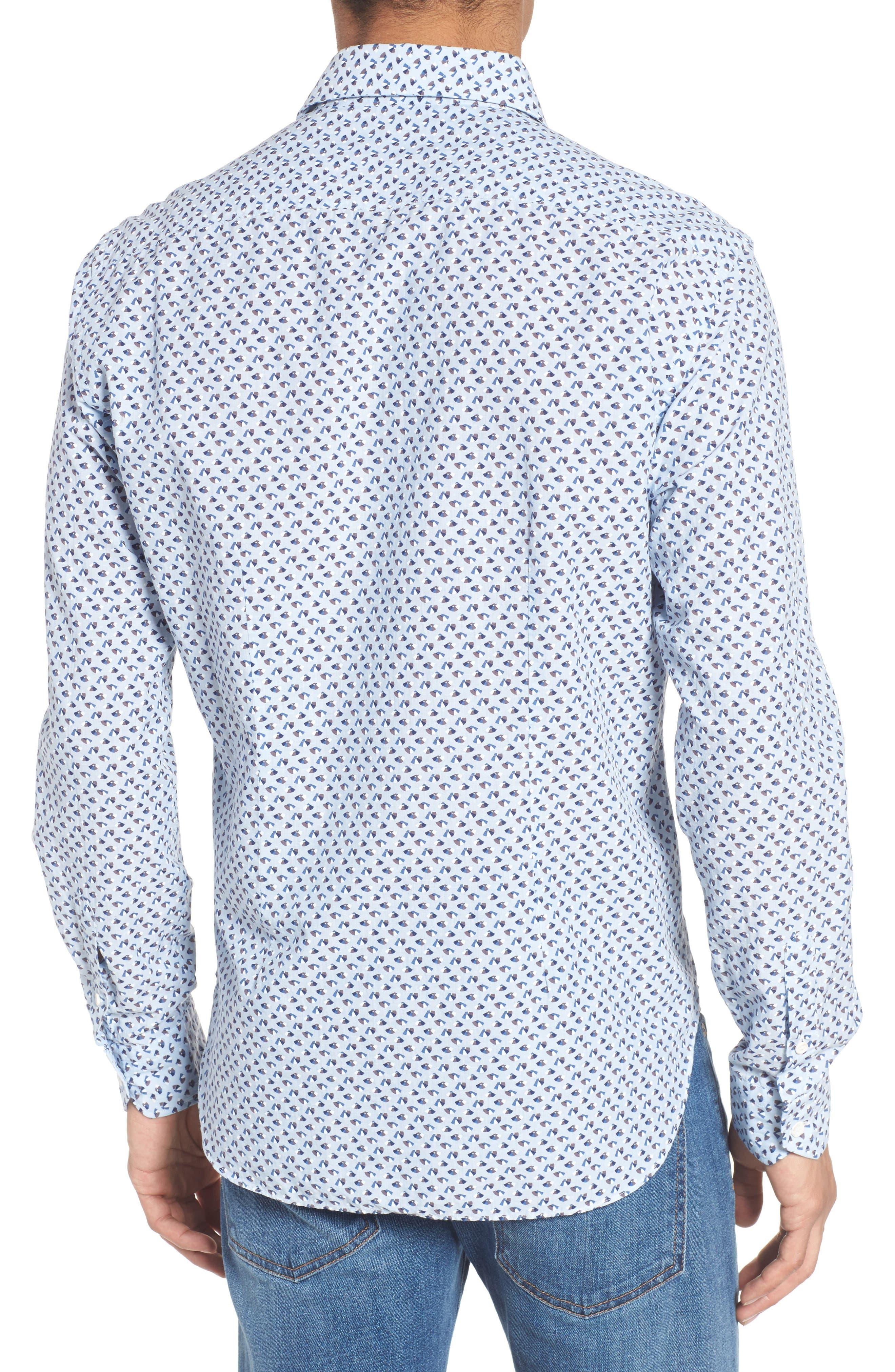 Slim Fit Print Cotton & Linen Sport Shirt,                             Alternate thumbnail 2, color,                             Blue