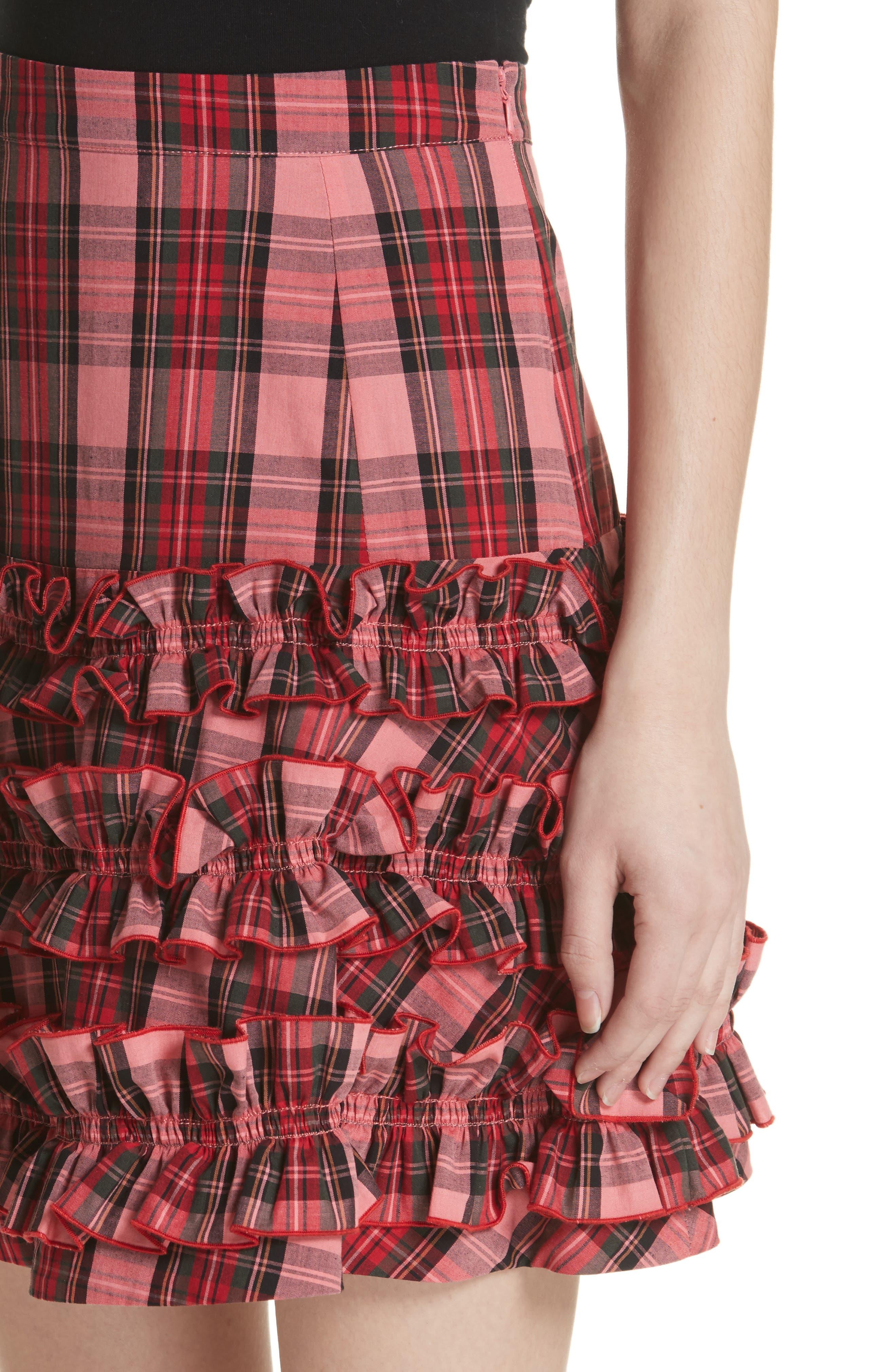 Em Ruffle Tartan Skirt,                             Alternate thumbnail 4, color,                             Pink