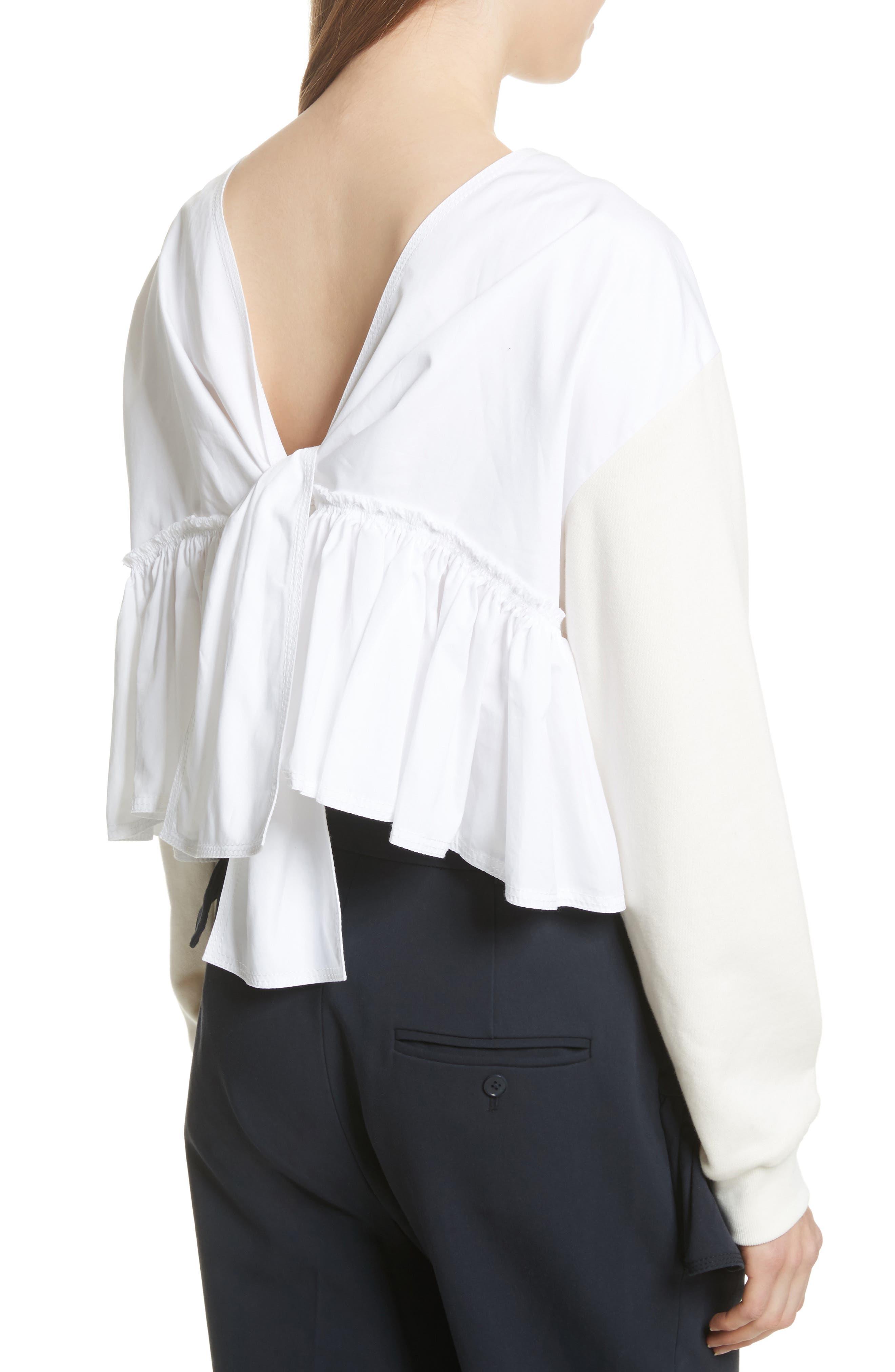 Tie Back Crop Sweatshirt,                             Alternate thumbnail 2, color,                             Ecru