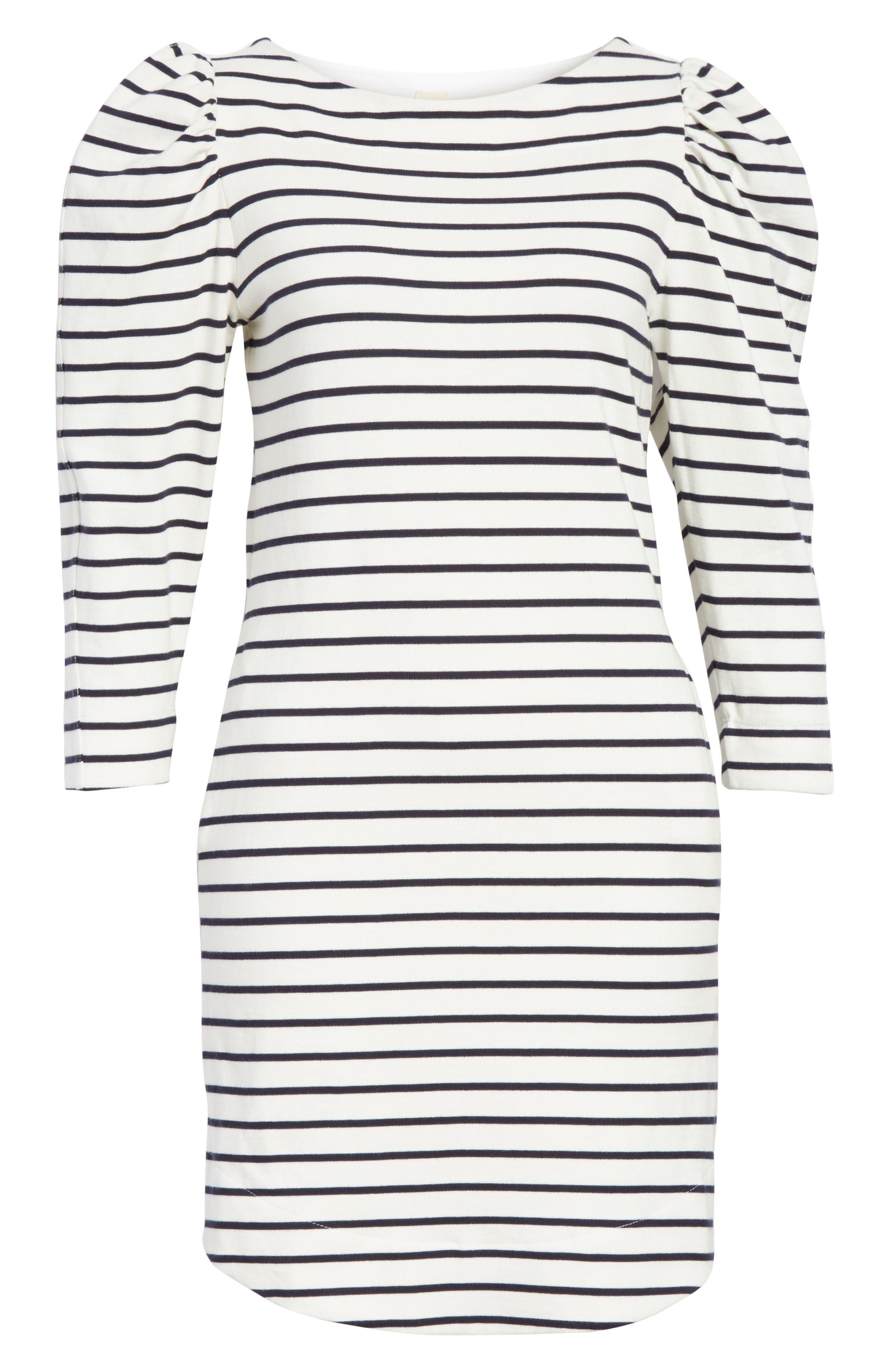 Stripe Knit Dress,                             Alternate thumbnail 6, color,                             Milk Combo