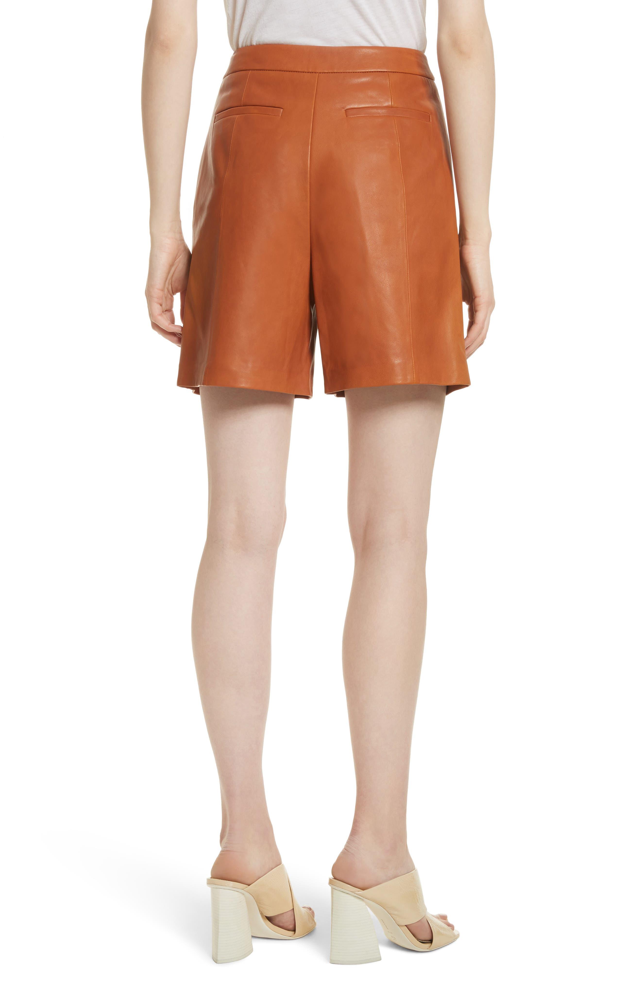 Leather Sailor Shorts,                             Alternate thumbnail 3, color,                             Ginger