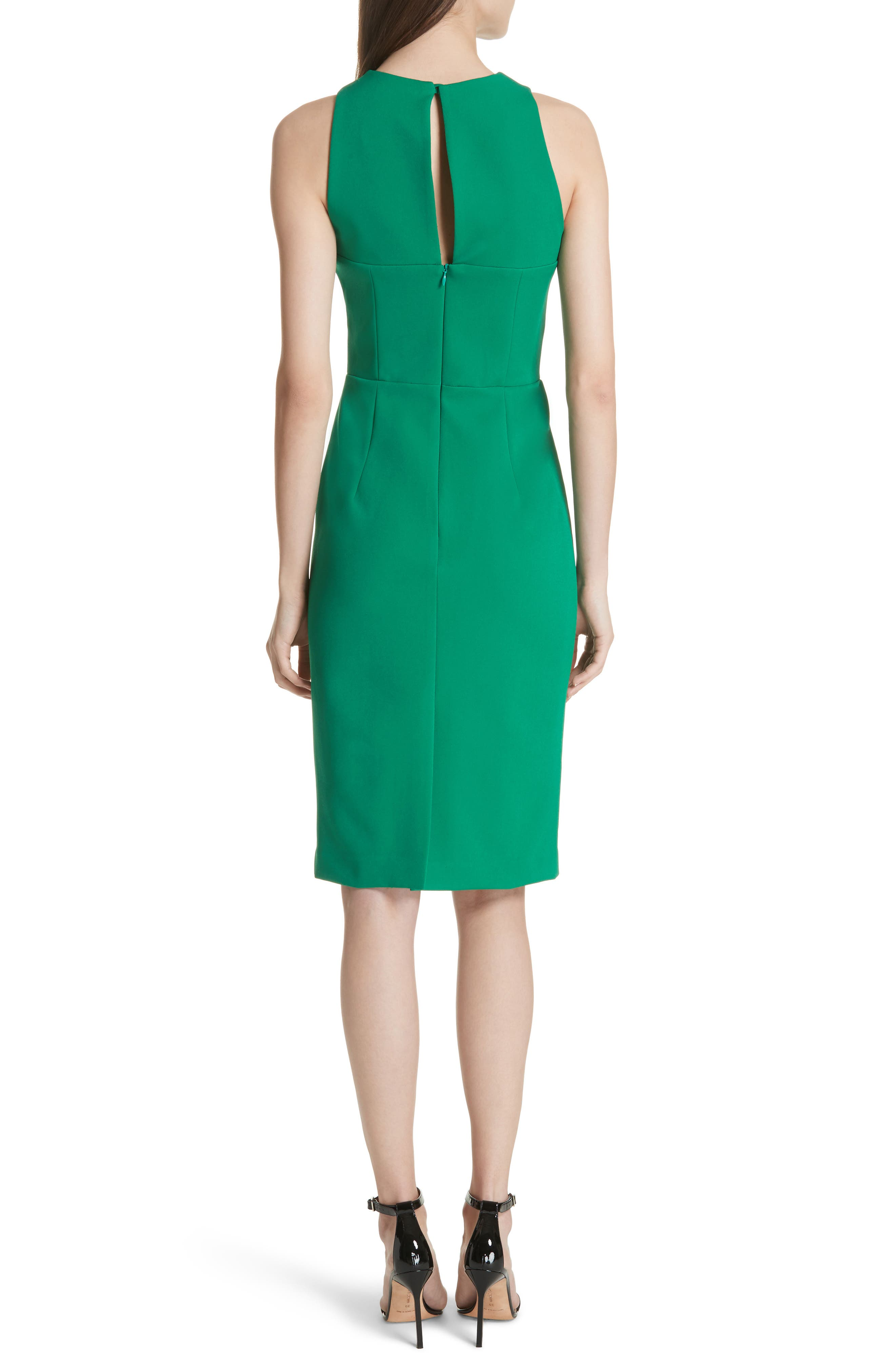 Luna Cutout Detail Crepe Sheath Dress,                             Alternate thumbnail 2, color,                             Emerald
