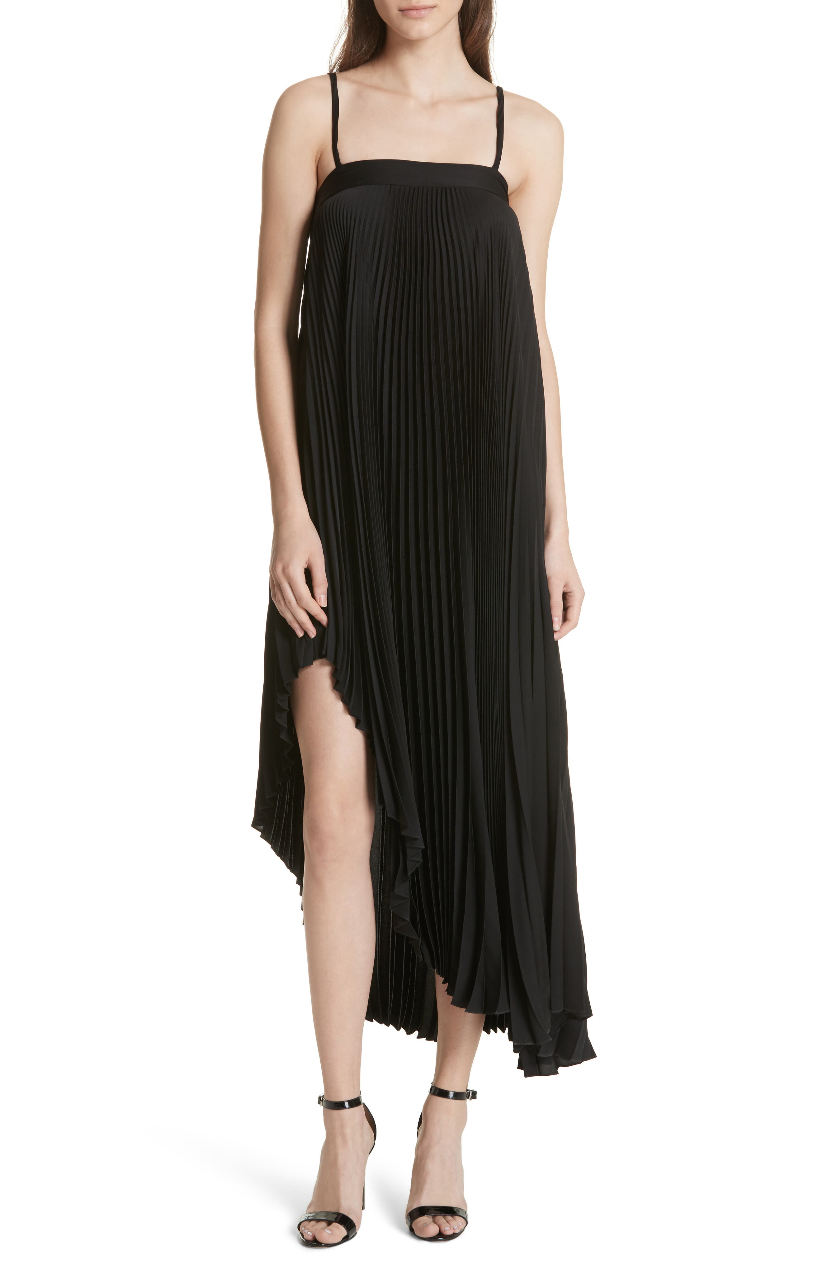 Irene Asymmetrical Pleated Silk Maxi Dress,                             Main thumbnail 1, color,                             Black