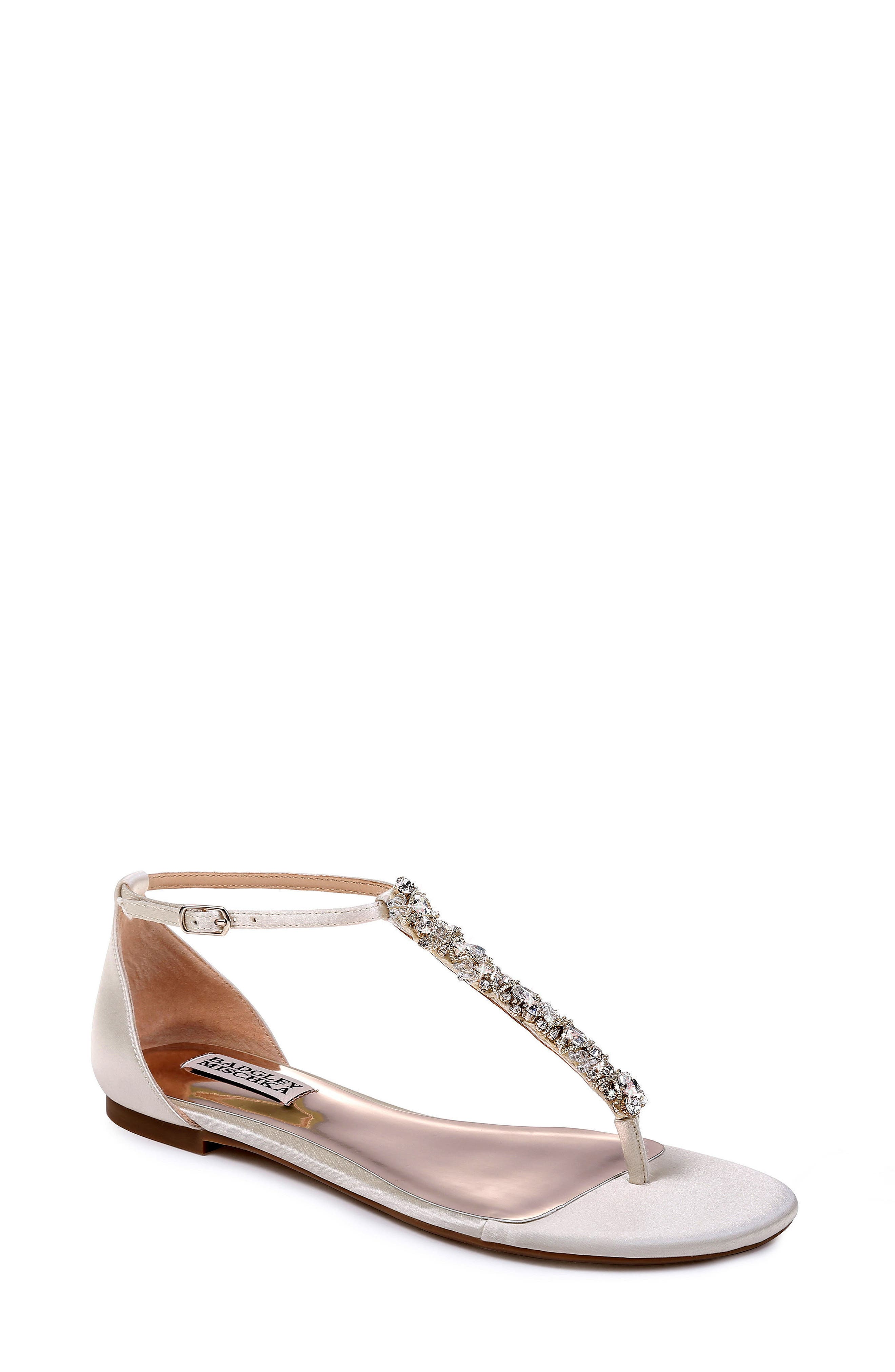9941d9523d25 Crystals and beads shimmer and shine along the T-strap of an elegant  leather sandal. Style Name  Badgley Mischka Holbrook T-Strap Sandal (Women).