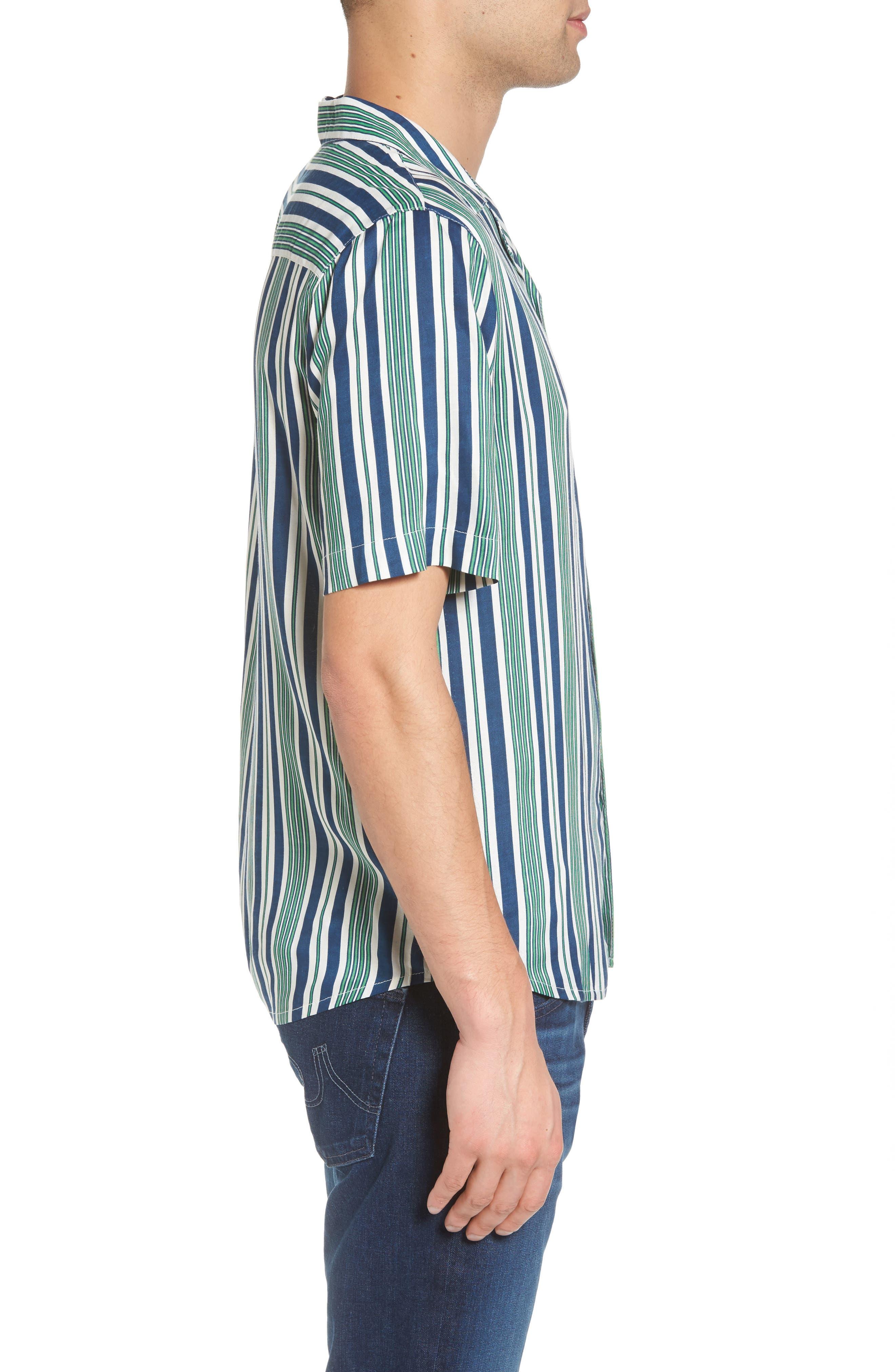 Bay Stripe Woven Shirt,                             Alternate thumbnail 3, color,                             Green