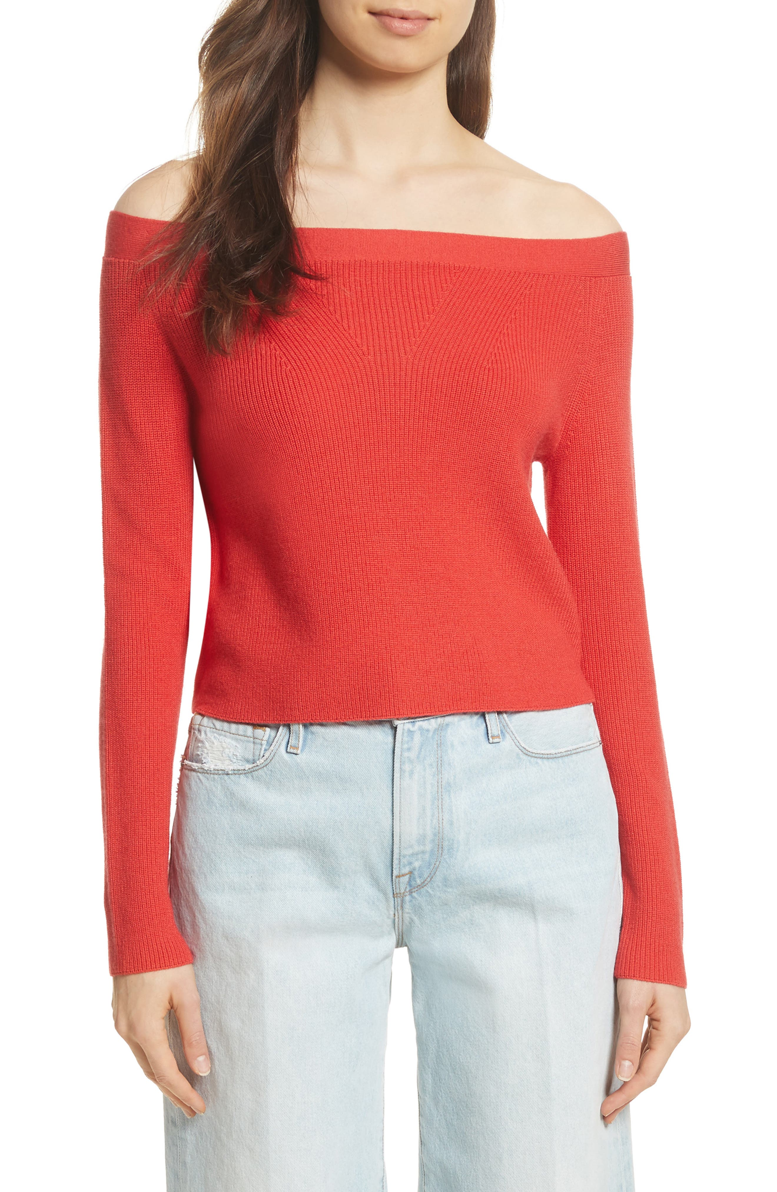 Off the Shoulder Crop Sweater,                             Main thumbnail 1, color,                             Summer Red