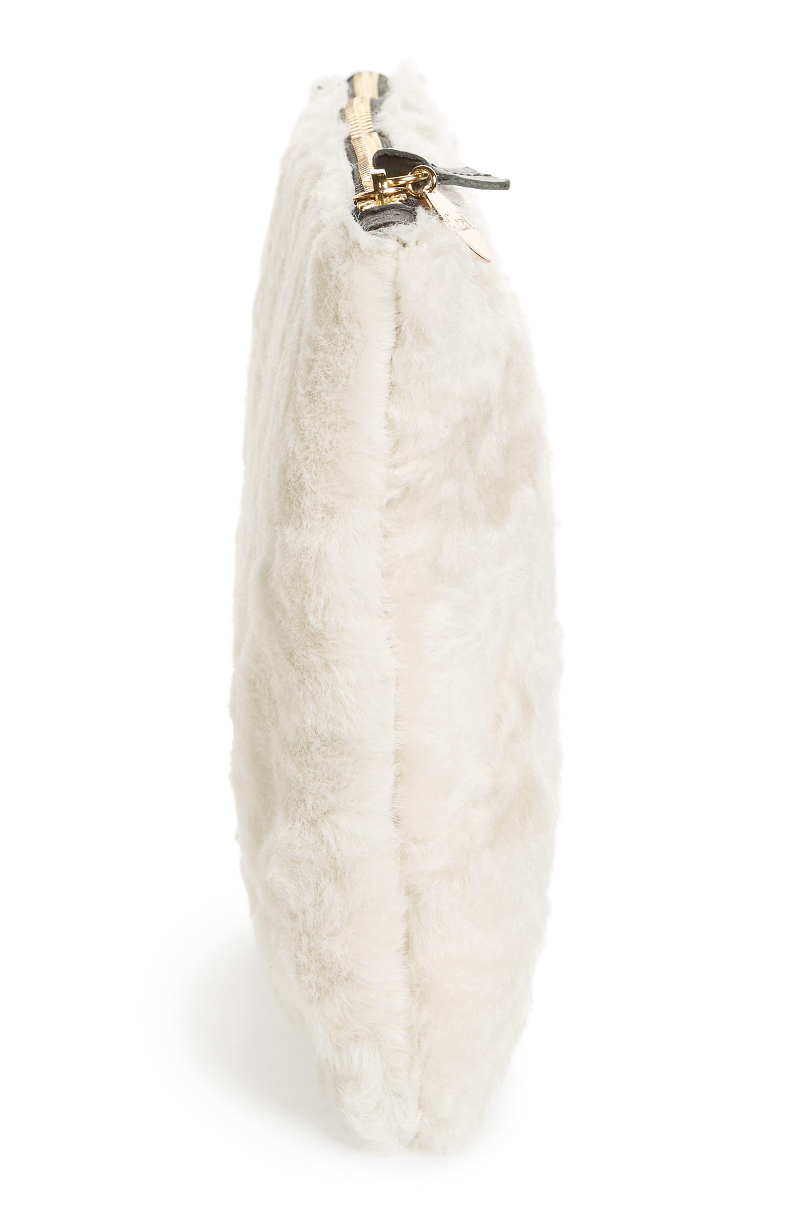 Genuine Shearling Flat Clutch,                             Alternate thumbnail 3, color,                             Cream Shearling