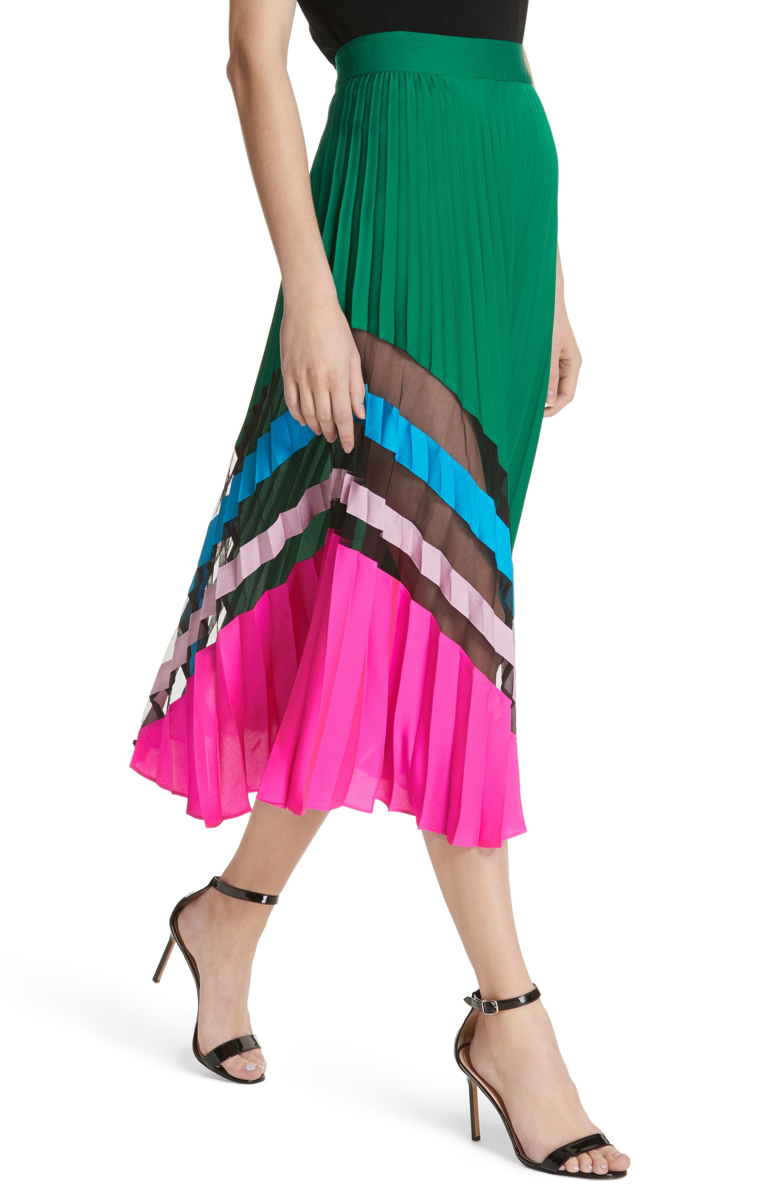 Pleated Maxi Skirt,                             Alternate thumbnail 4, color,                             Emerald Multi
