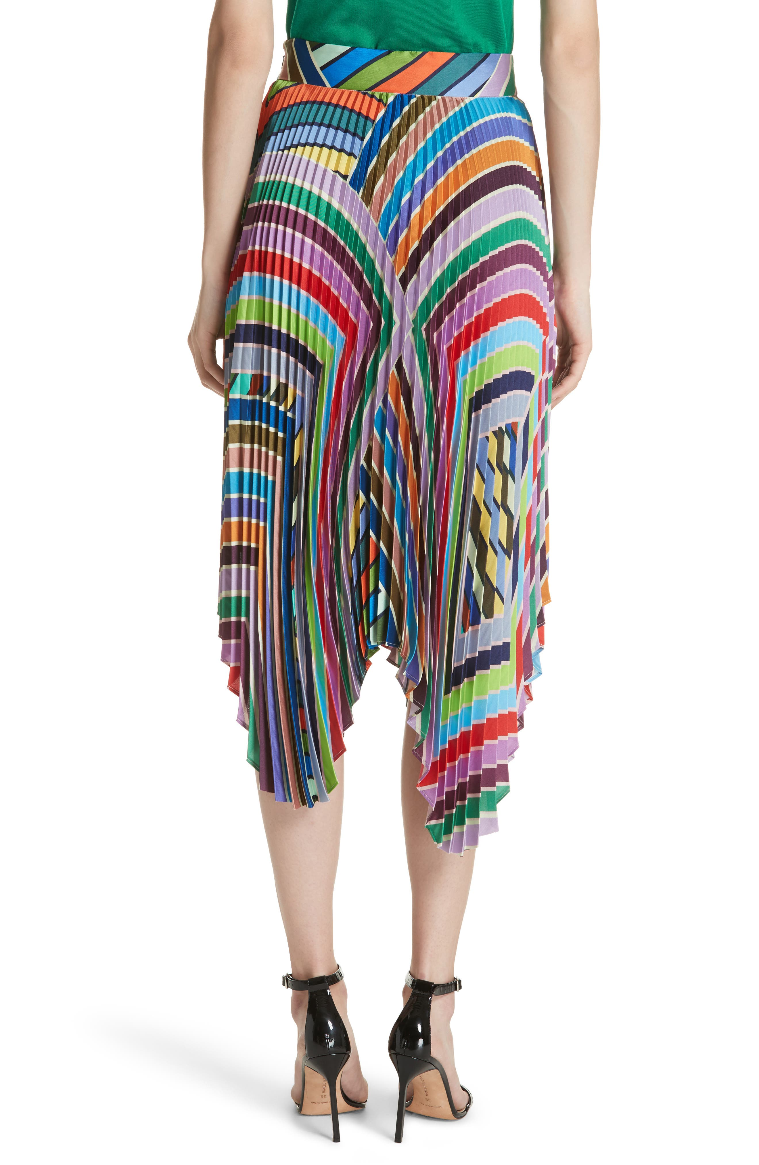 Stripe Pleated Handkerchief Skirt,                             Alternate thumbnail 2, color,                             Multi