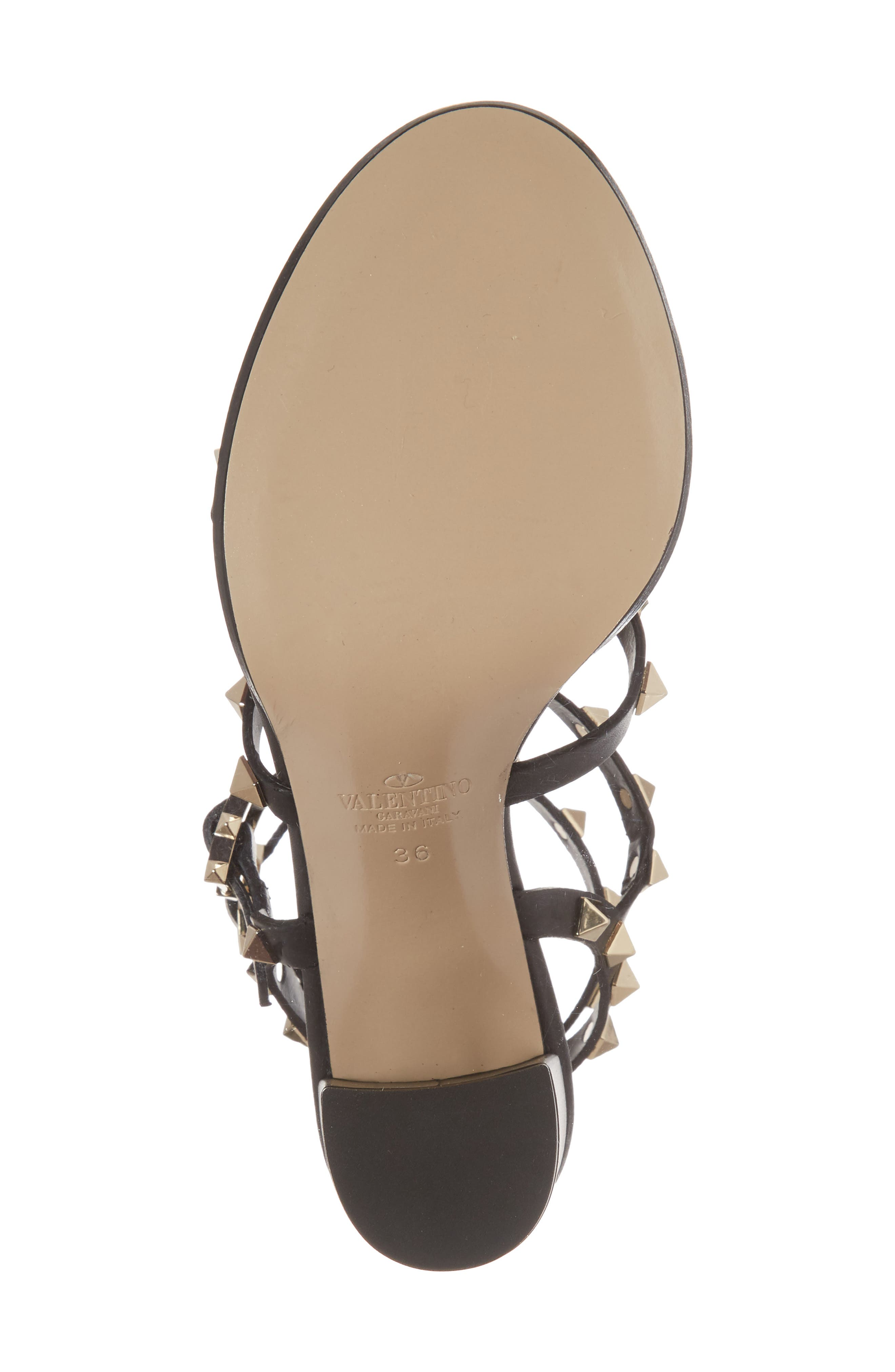 'Rockstud' T-Strap Sandal,                             Alternate thumbnail 6, color,                             Nero