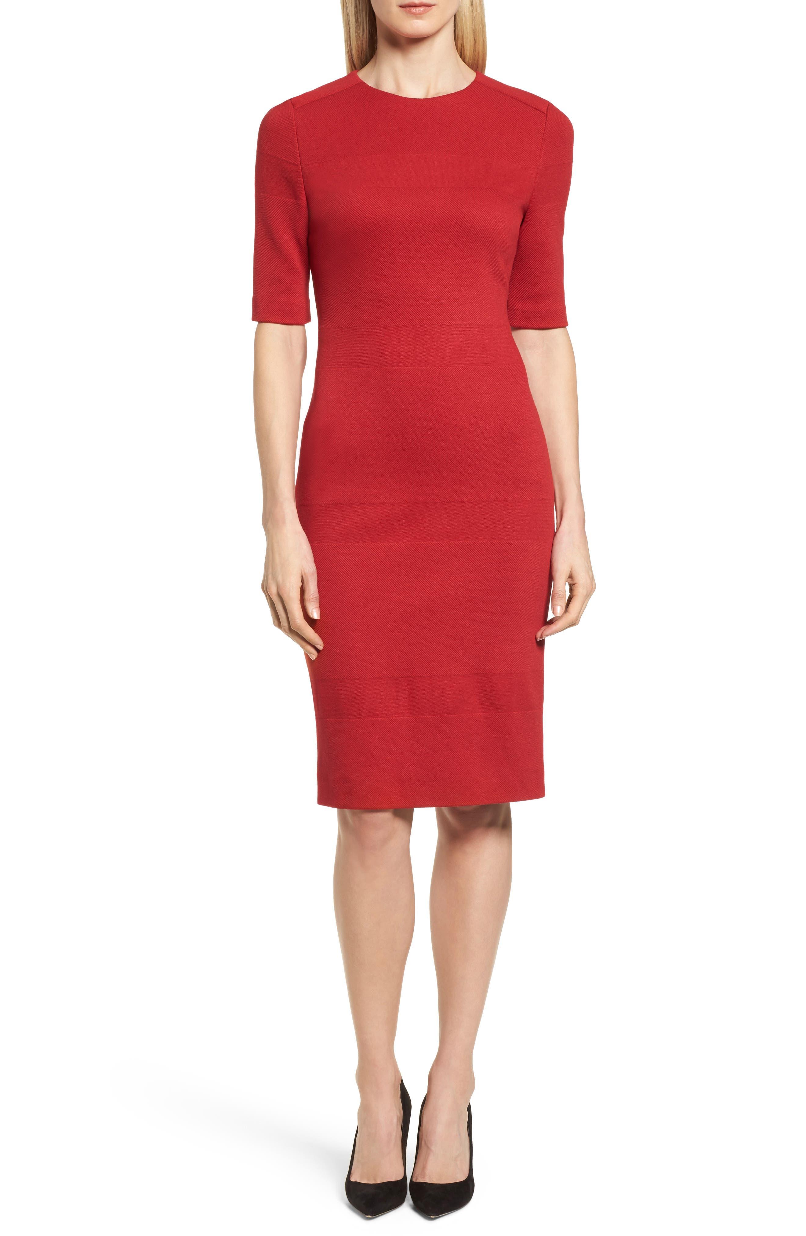 Hibela Tonal Stripe Dress,                             Main thumbnail 1, color,                             Crimson Red