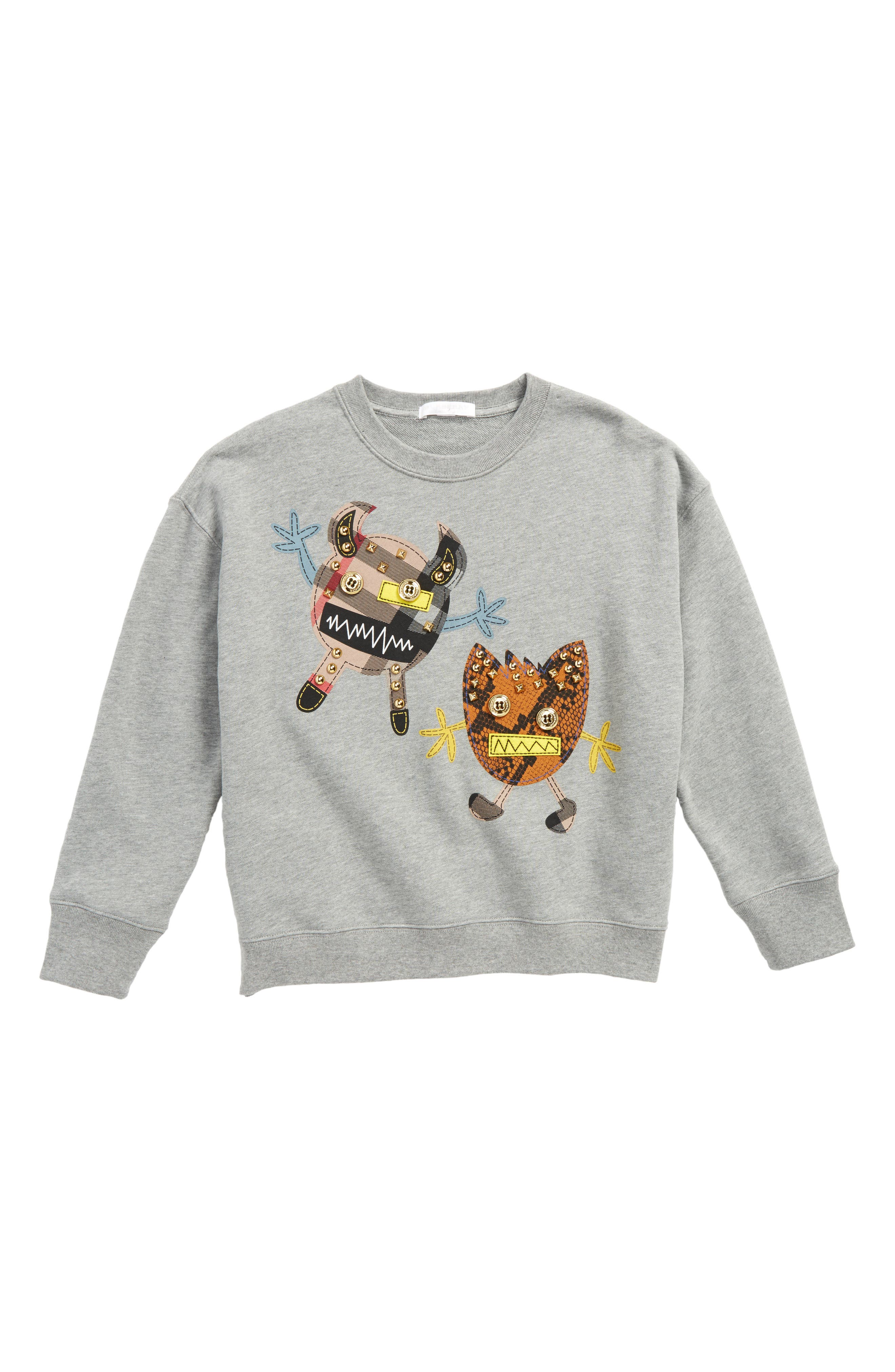 Monster Sweatshirt,                         Main,                         color, Grey Melange