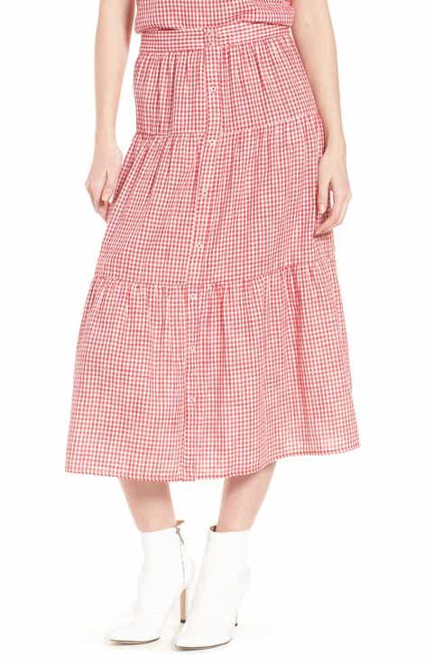 Ten Sixty Sherman Gingham Tiered Midi Skirt Sale