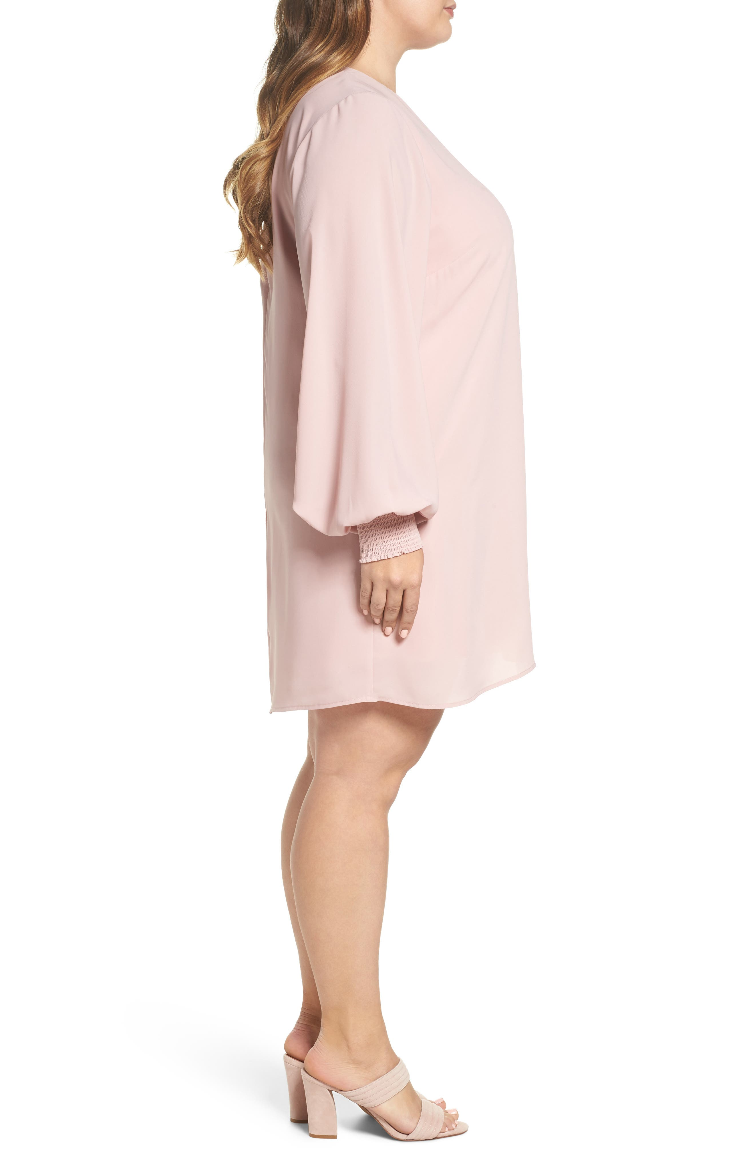 Angel Wing Shift Dress,                             Alternate thumbnail 3, color,                             Misty Rose