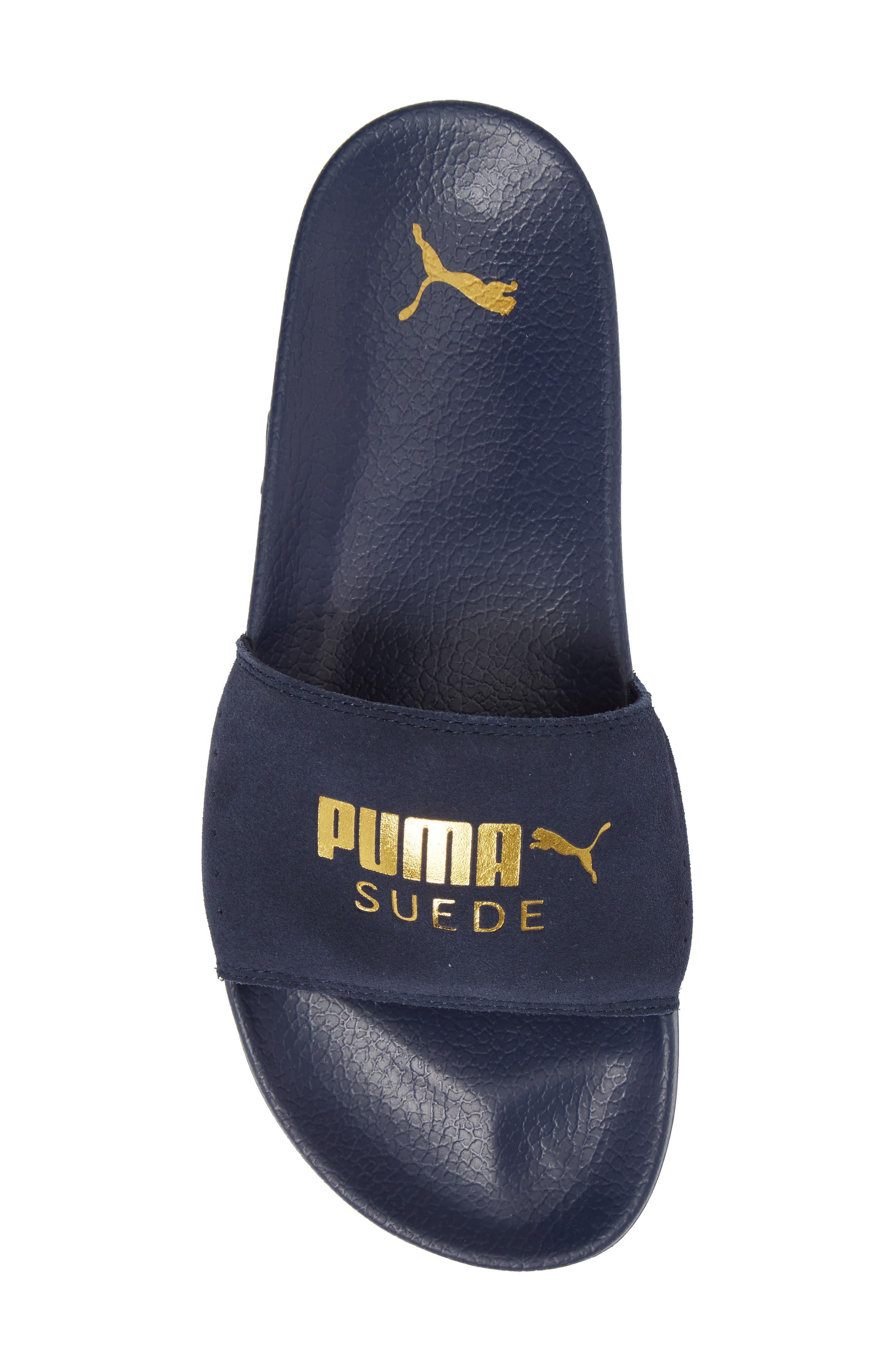 Leadcat Suede Slide Sandal,                             Alternate thumbnail 5, color,                             Peacoat/ Gold Leather/ Suede