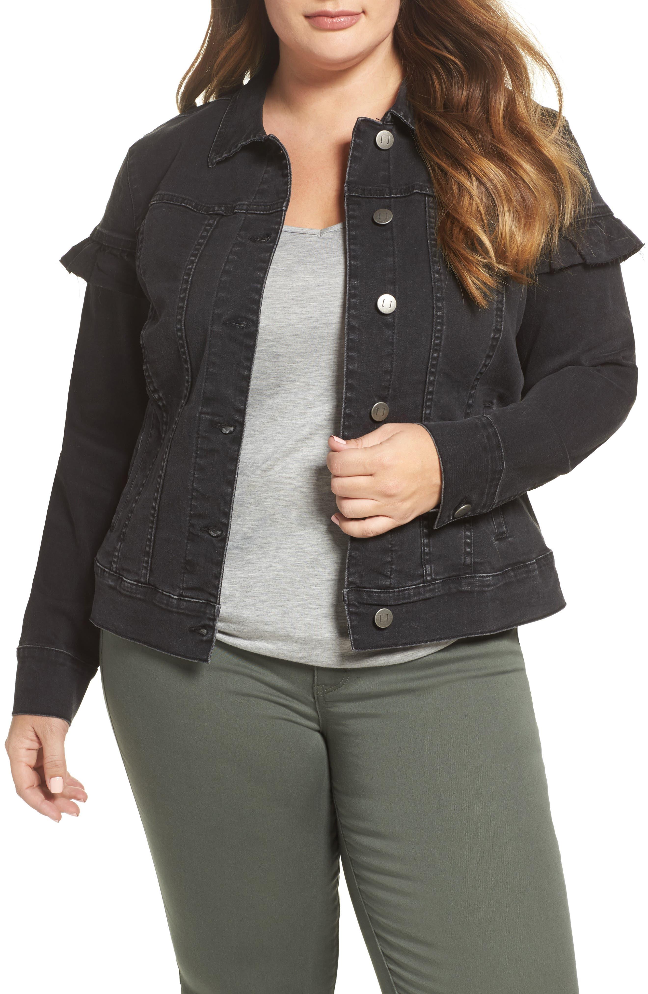 Katinka Denim Jacket,                         Main,                         color, Black