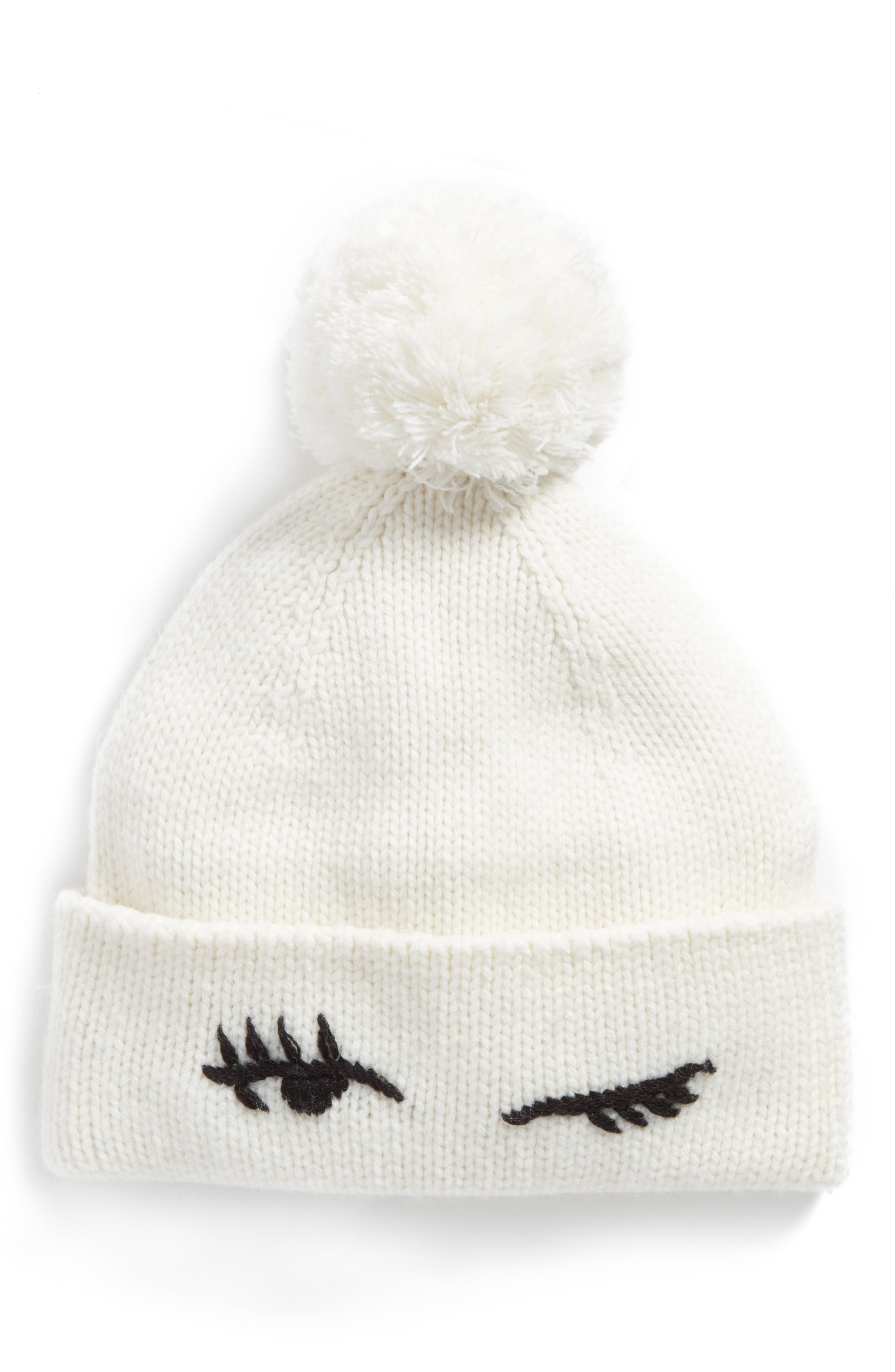 winking beanie with pom,                         Main,                         color, Cream/ Black