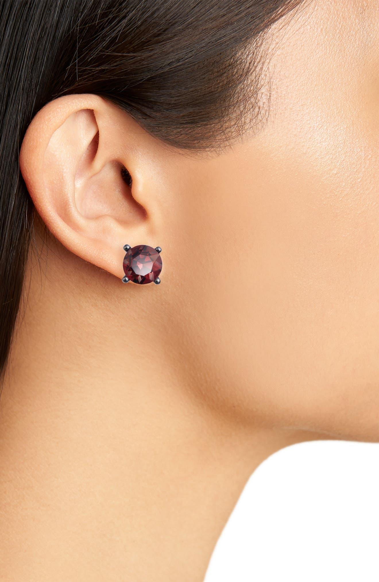 Jewel Stud Earrings,                             Alternate thumbnail 2, color,                             Hematite