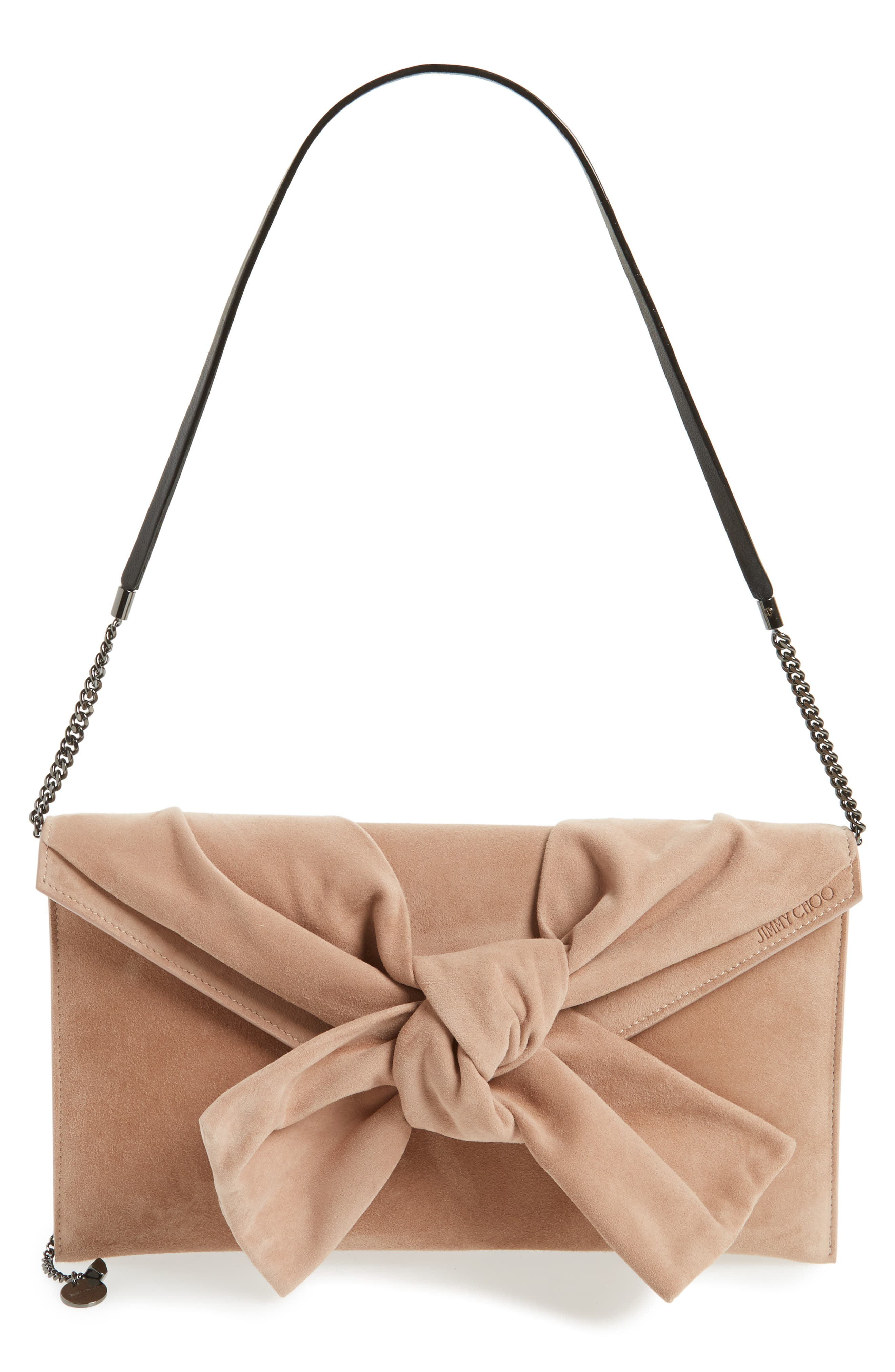 Riva Sue Suede Bow Clutch,                             Main thumbnail 1, color,                             Ballet Pink
