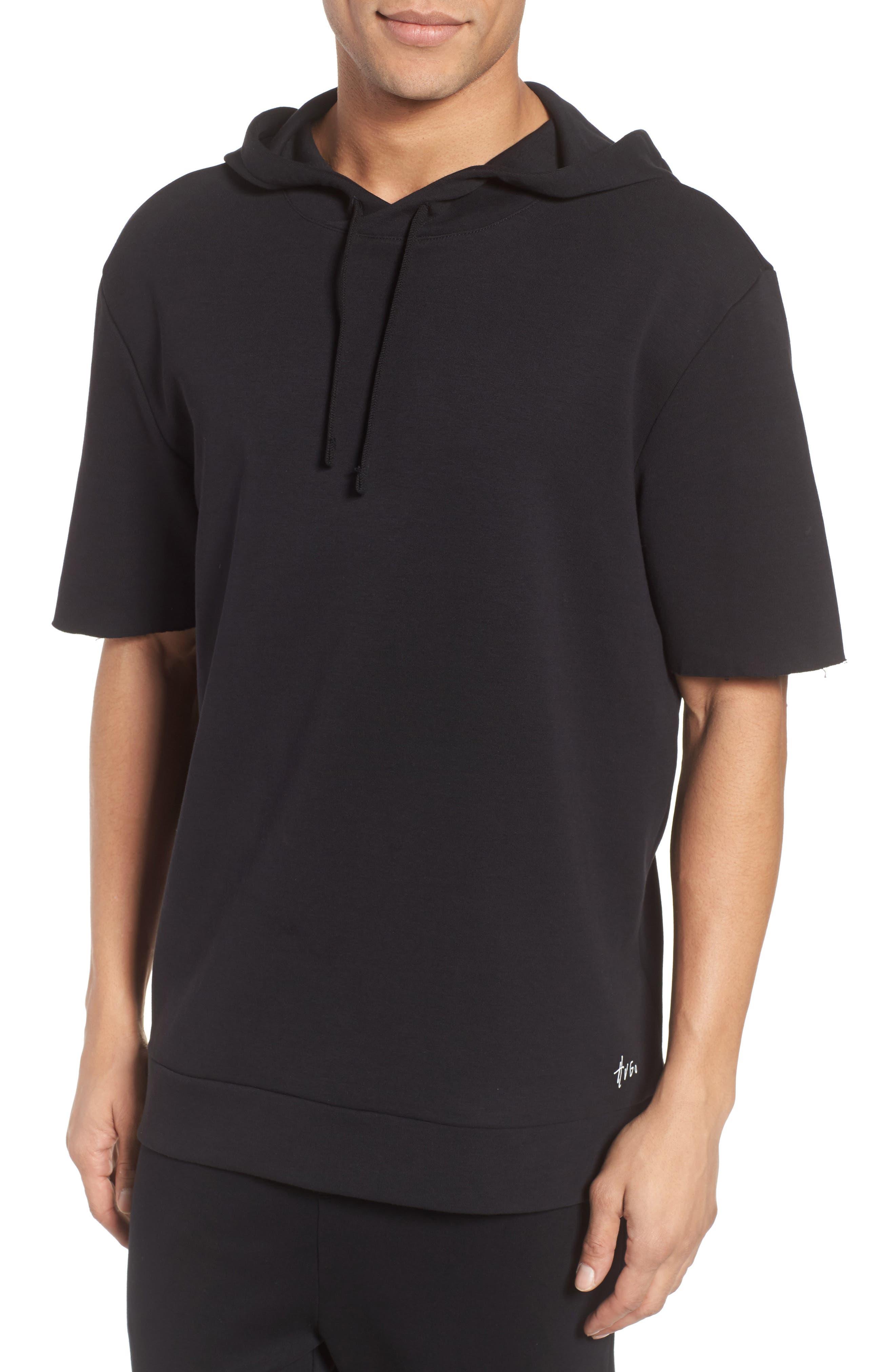 Drib Short Sleeve Hoodie,                         Main,                         color, Black