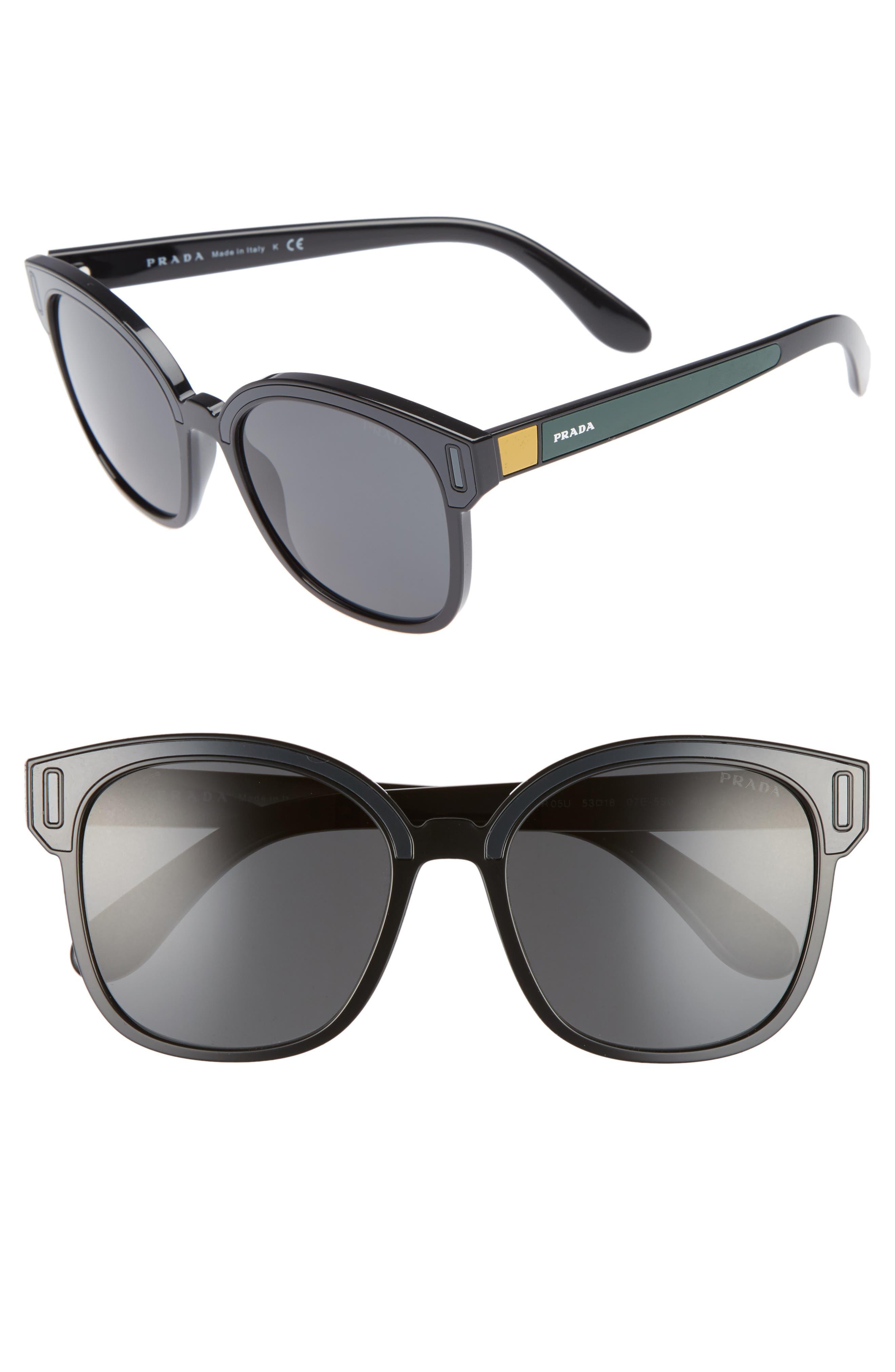 Main Image - Prada 53mm Colorblock Square Sunglasses