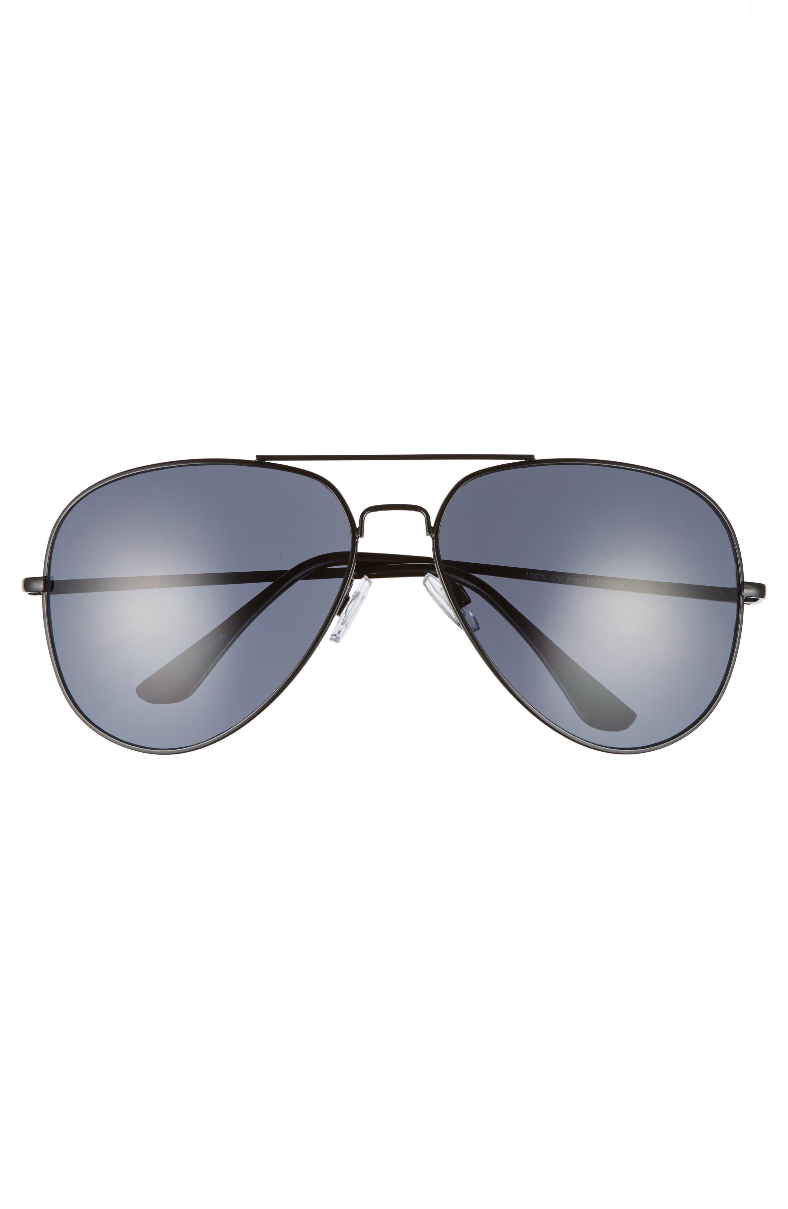 60mm Large Aviator Sunglasses,                             Alternate thumbnail 3, color,                             Black/ Black