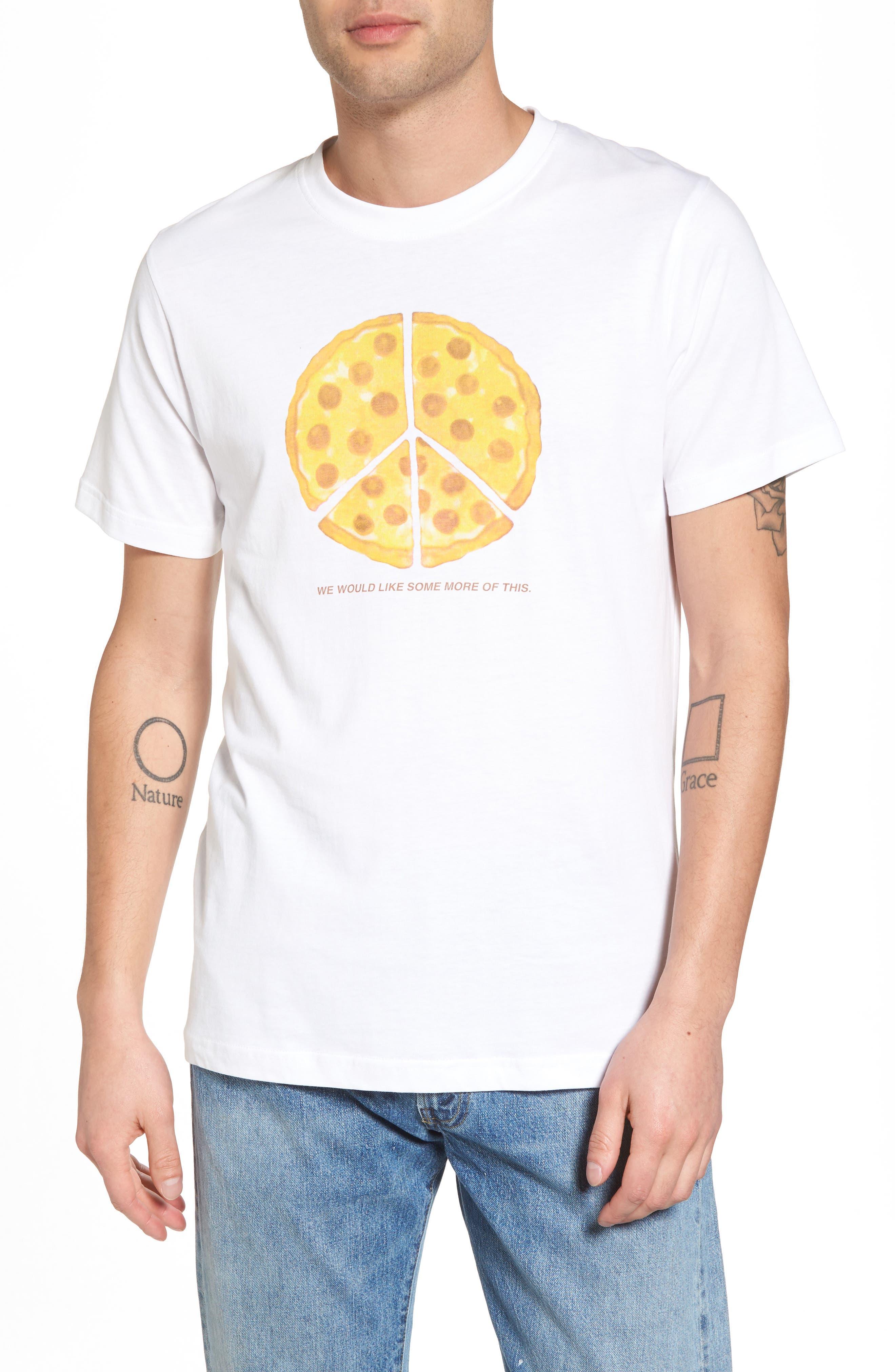 Max Peace Pizza Graphic T-Shirt,                             Main thumbnail 1, color,                             White
