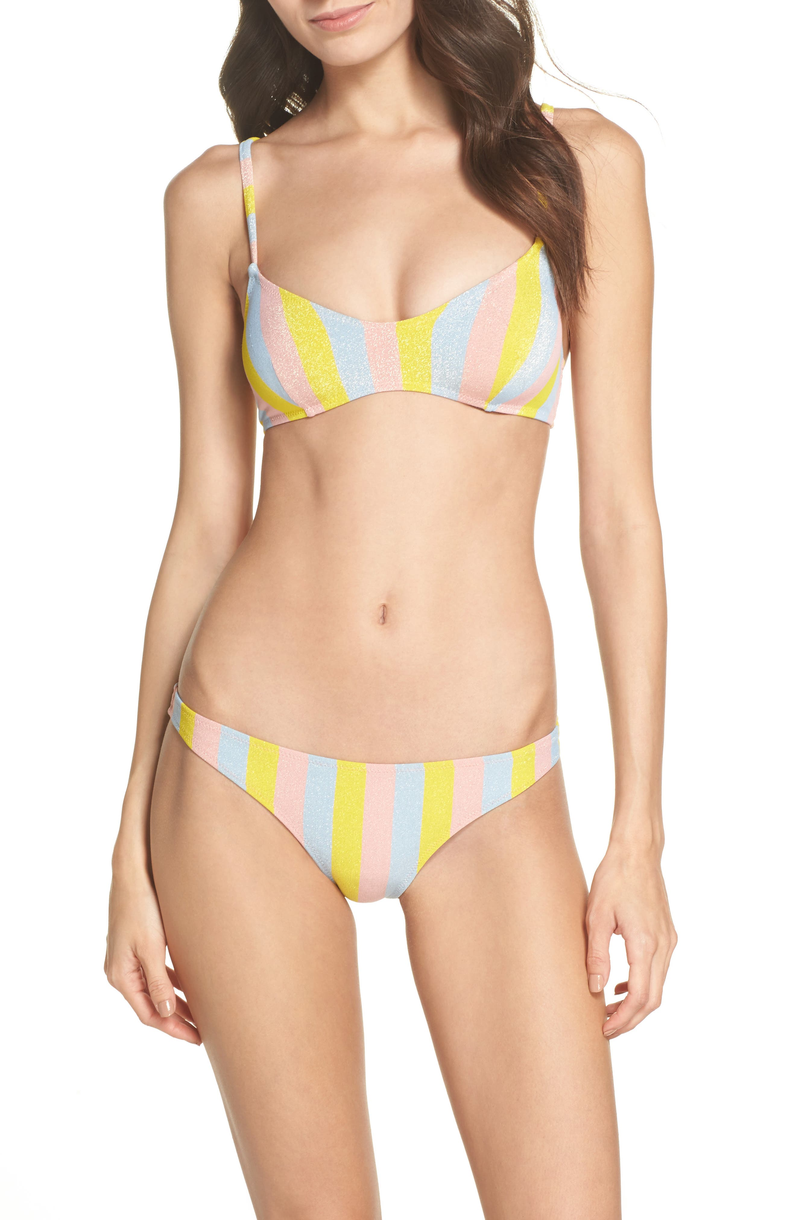The Rachel Bikini Bottoms,                             Alternate thumbnail 5, color,                             Yellow/ Blue/ Pink