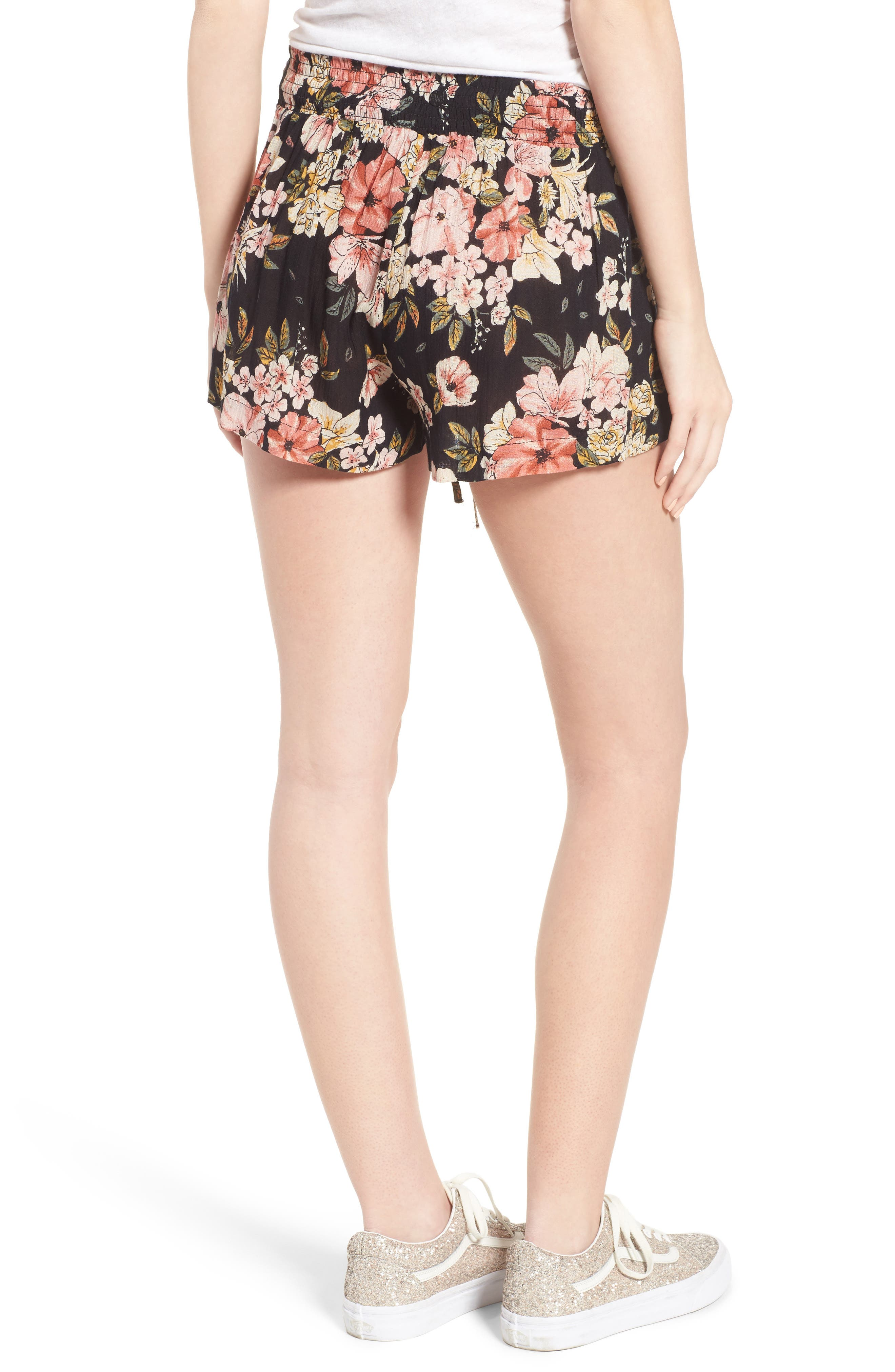 Trippy Day Floral Print Shorts,                             Alternate thumbnail 3, color,                             Black